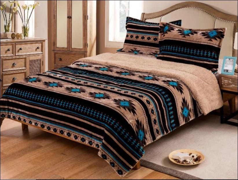 Southwest Tan Aztec Turquoise bedding set