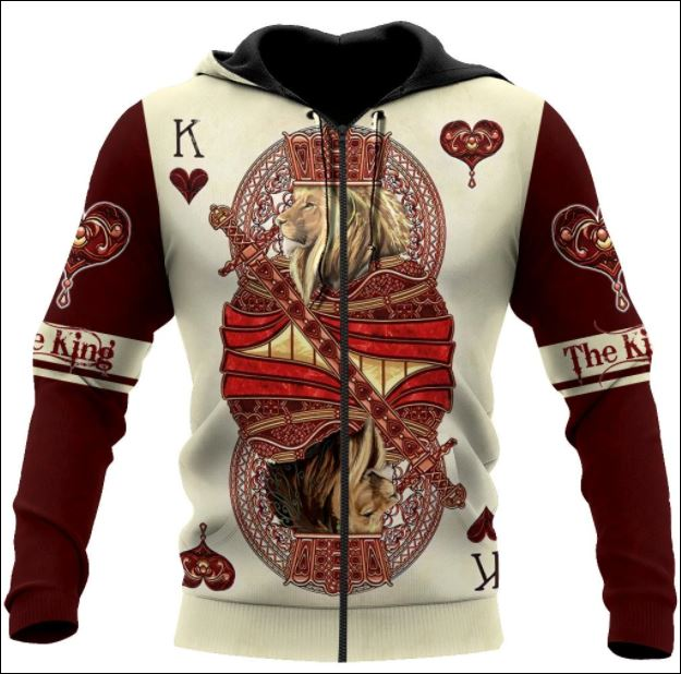 The King of Wildlife Lion Poker all over printed 3D zip hoodie