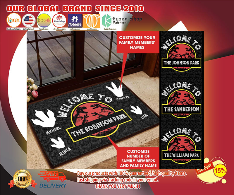 Welcome to Jurassic Part Personalized custom doormat - LIMITED EDITION