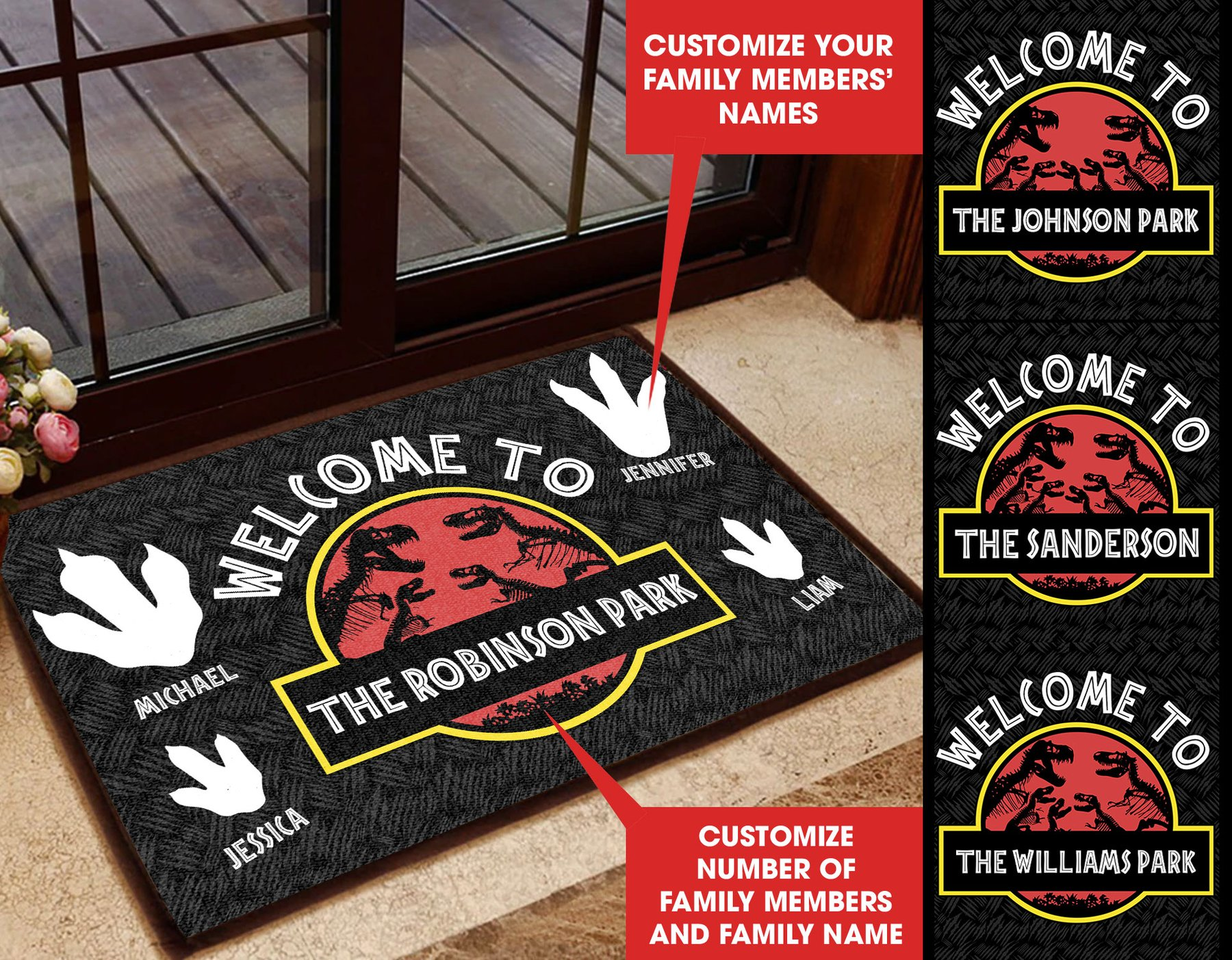 Welcome to Jurassic Part Personalized custom doormat