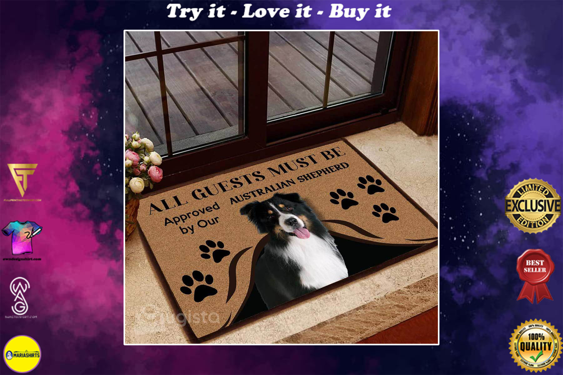 [special edition] all guests must be approved by our australian shepherd doormat - maria