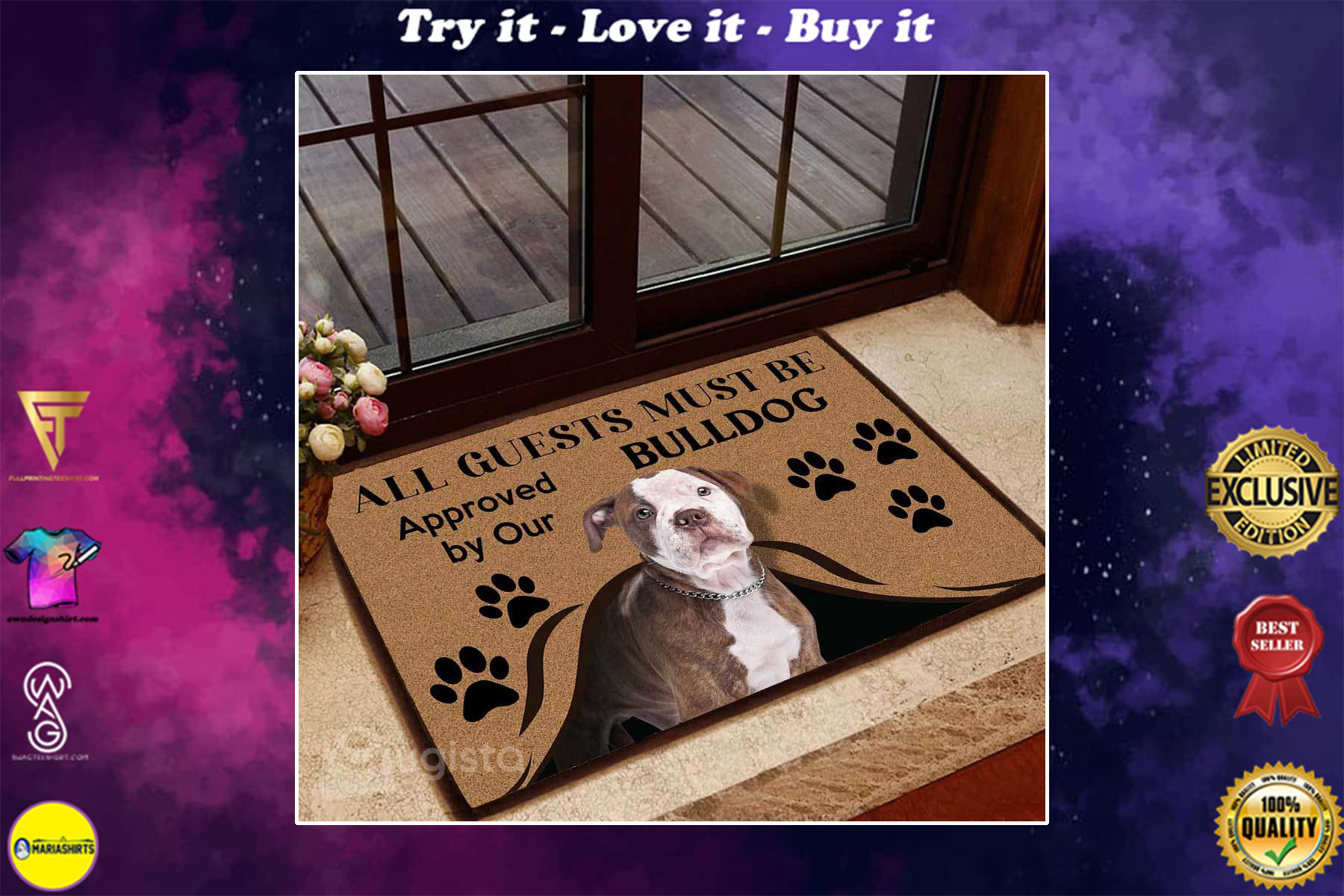 [special edition] all guests must be approved by our bulldog doormat - maria