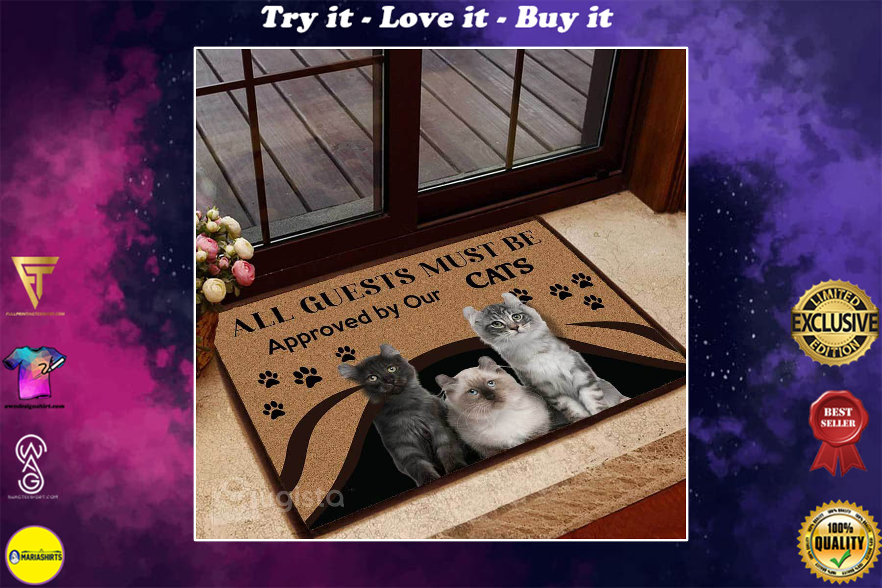 [special edition] all guests must be approved by our cats doormat - maria