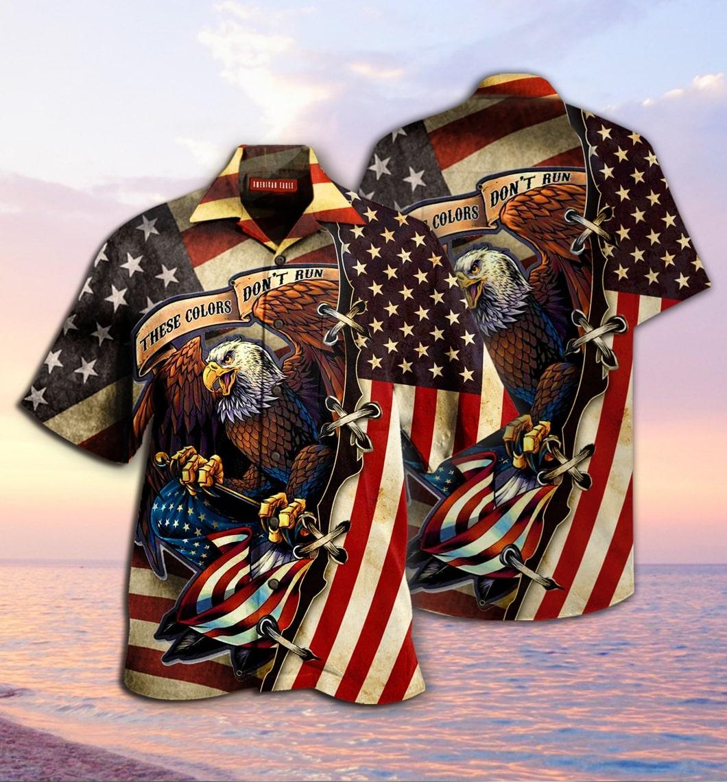 [special edition] american eagle fly flag hawaiian shirt - Maria