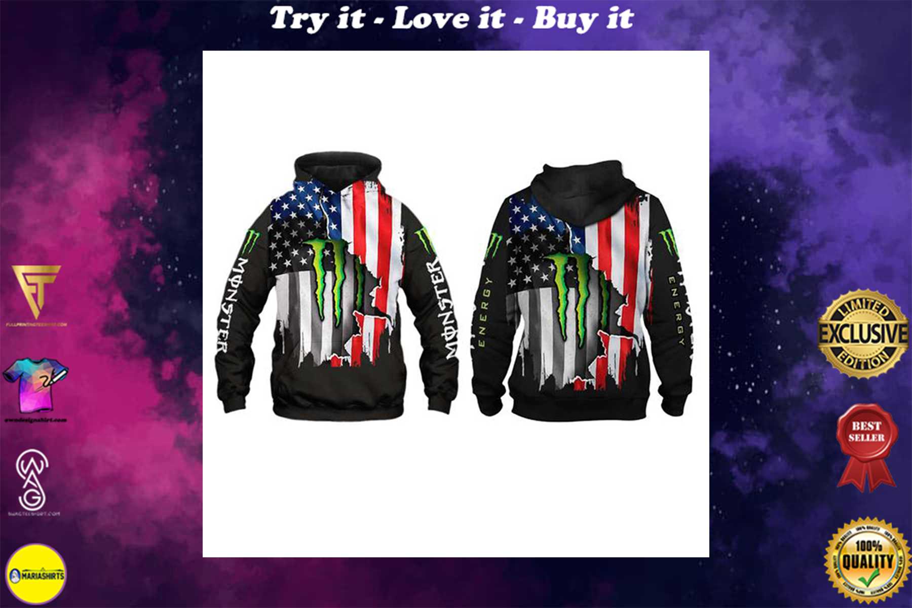 [special edition] american flag monster energy team motocross full printing shirt - maria