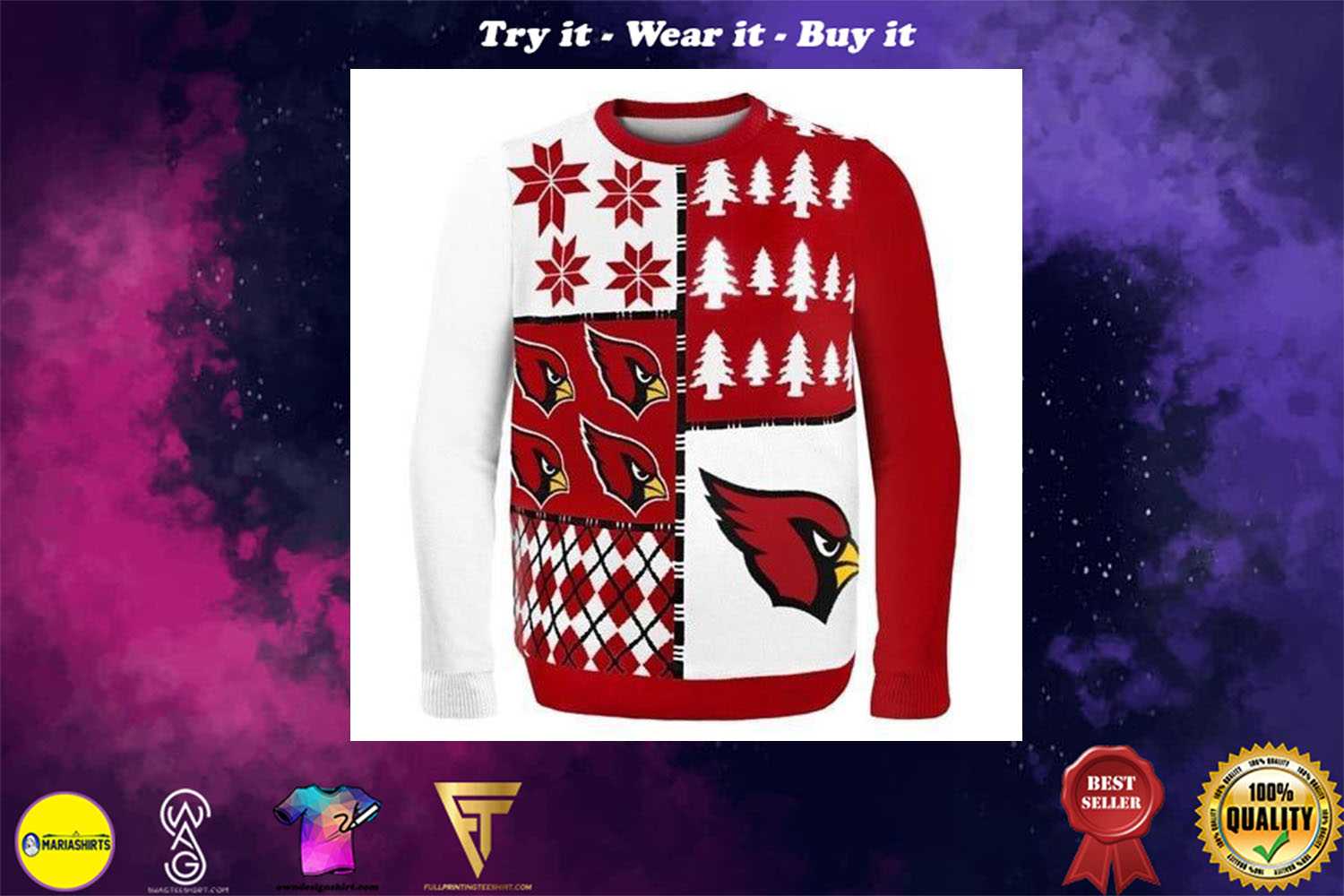 [special edition] arizona cardinals busy block ugly christmas sweater - maria