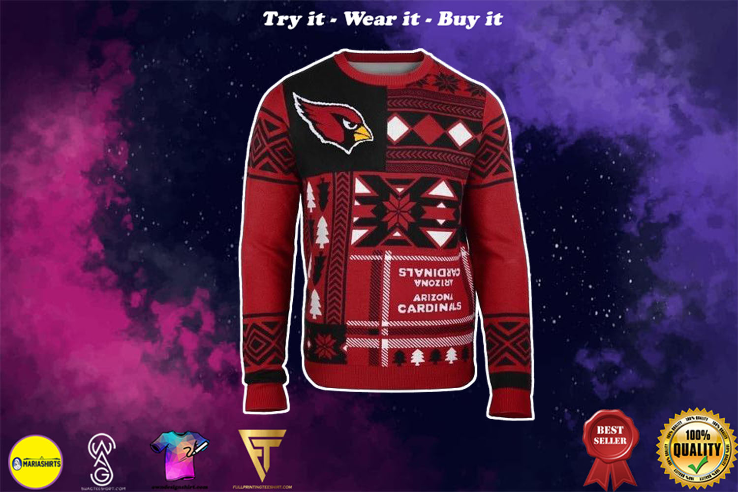 [special edition] arizona cardinals patches ugly christmas sweater - maria