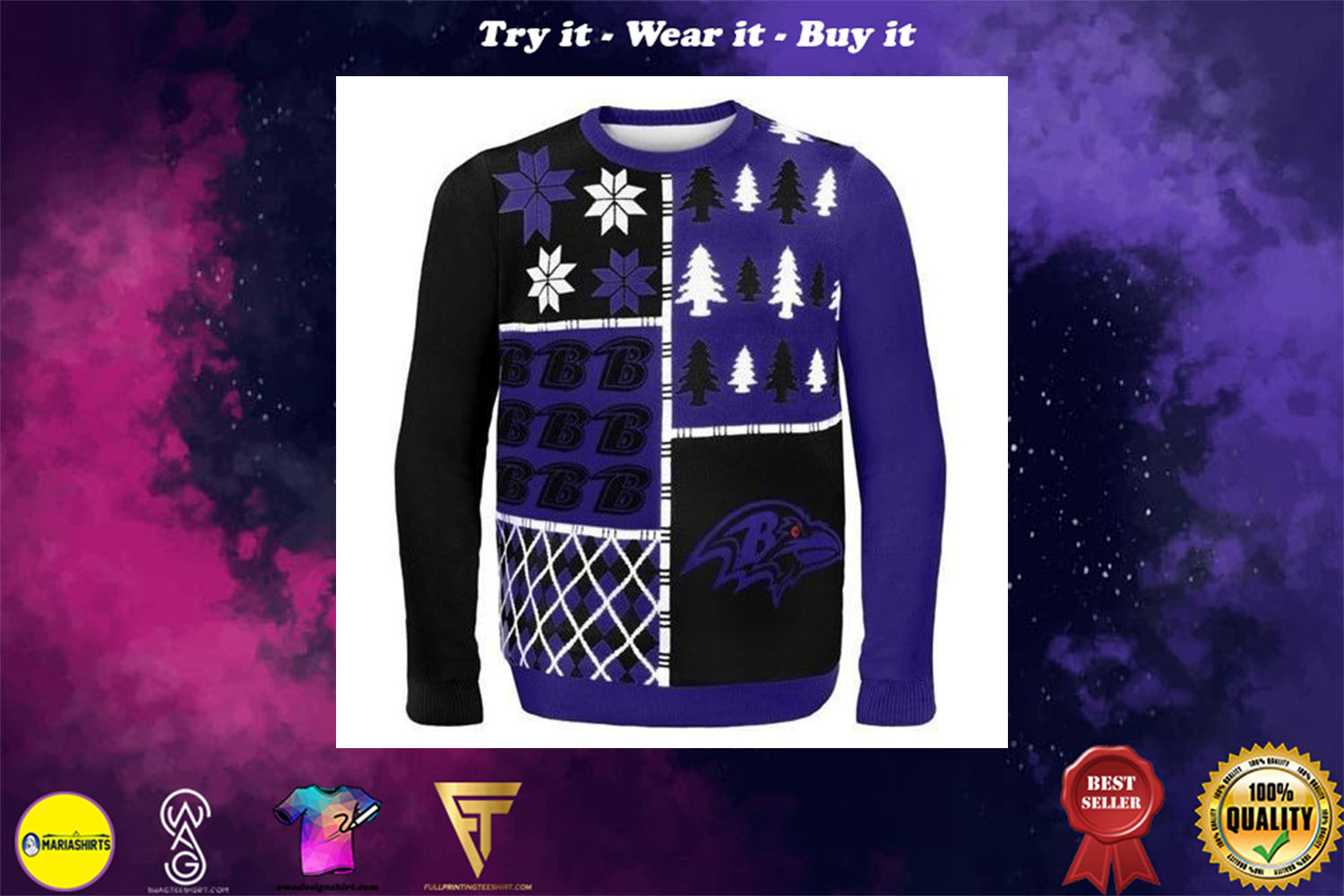 [special edition] baltimore ravens busy block ugly christmas sweater - maria