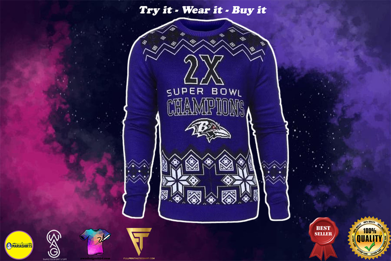 [special edition] baltimore ravens super bowl champions ugly christmas sweater - maria