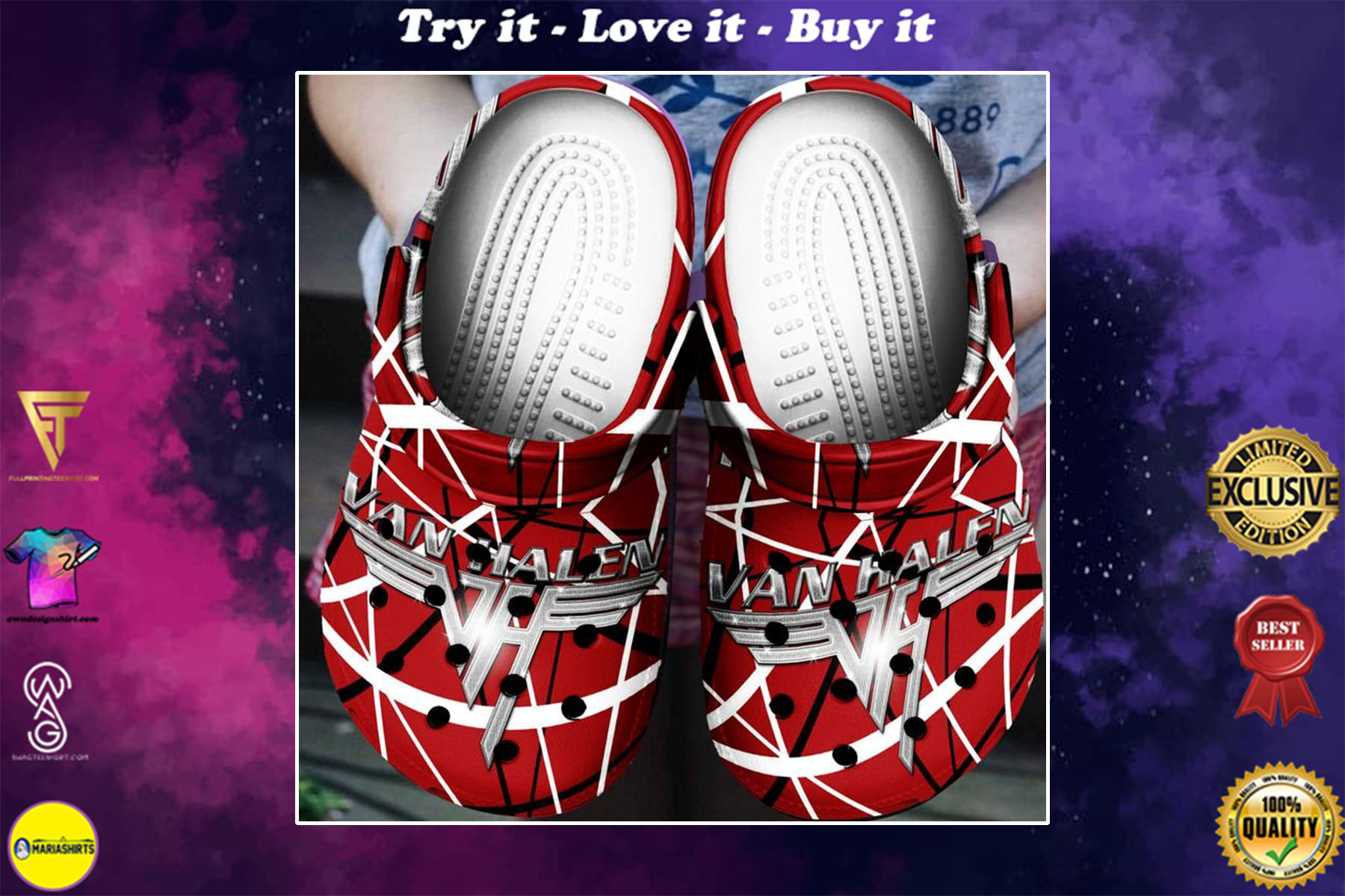 [special edition] best of both worlds a tribute to van halen crocs shoes - maria