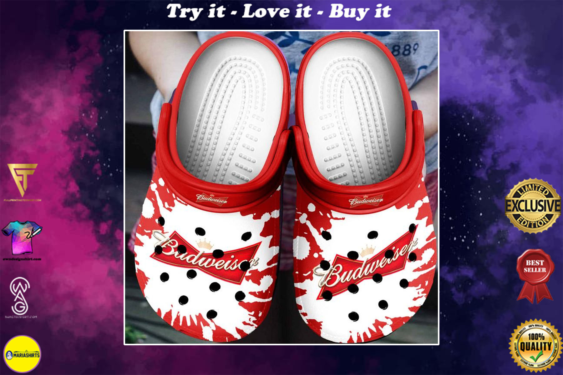 [special edition] budweiser beer crocs shoes - maria