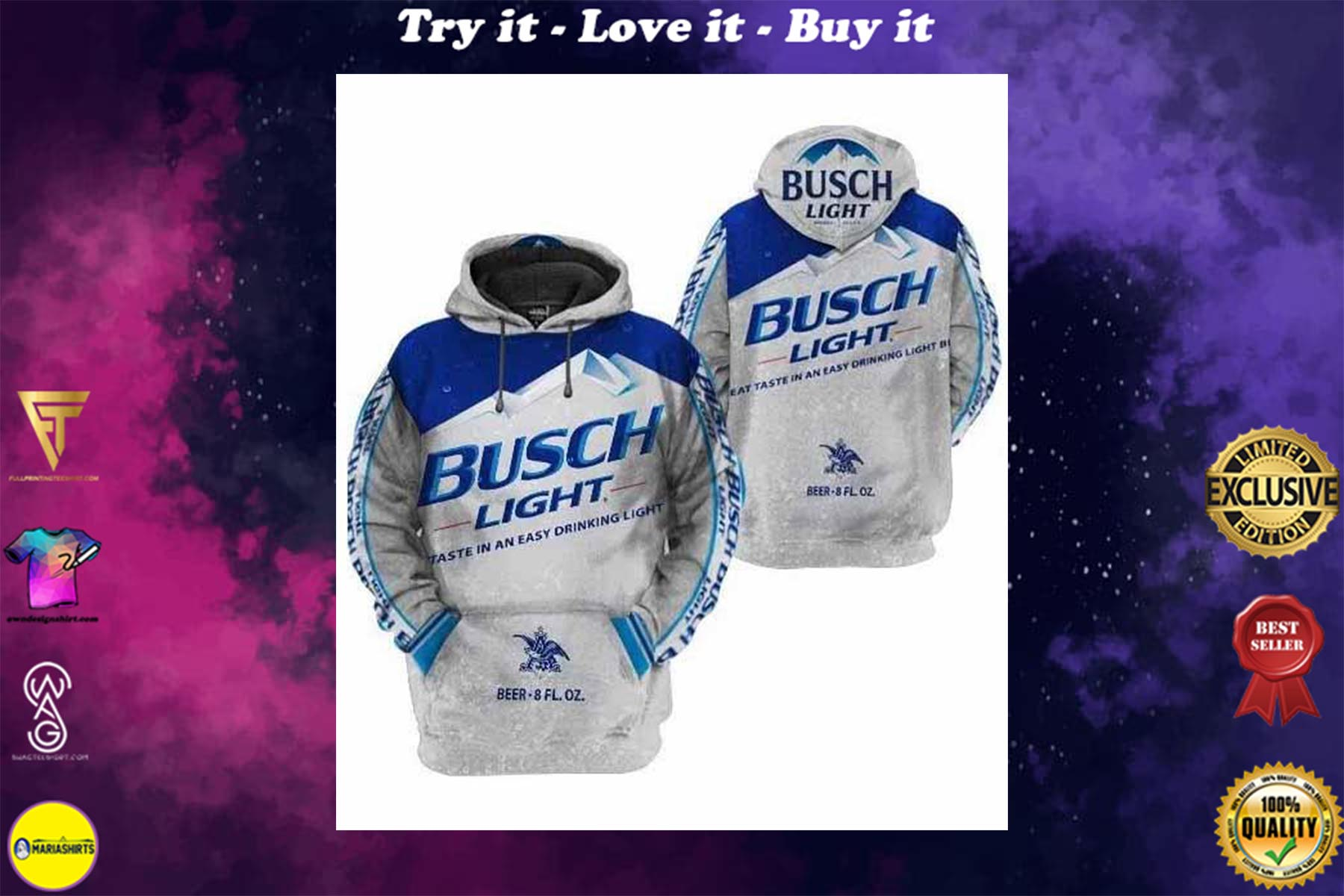 [special edition] busch light taste in an easy drinking light full printing shirt - maria