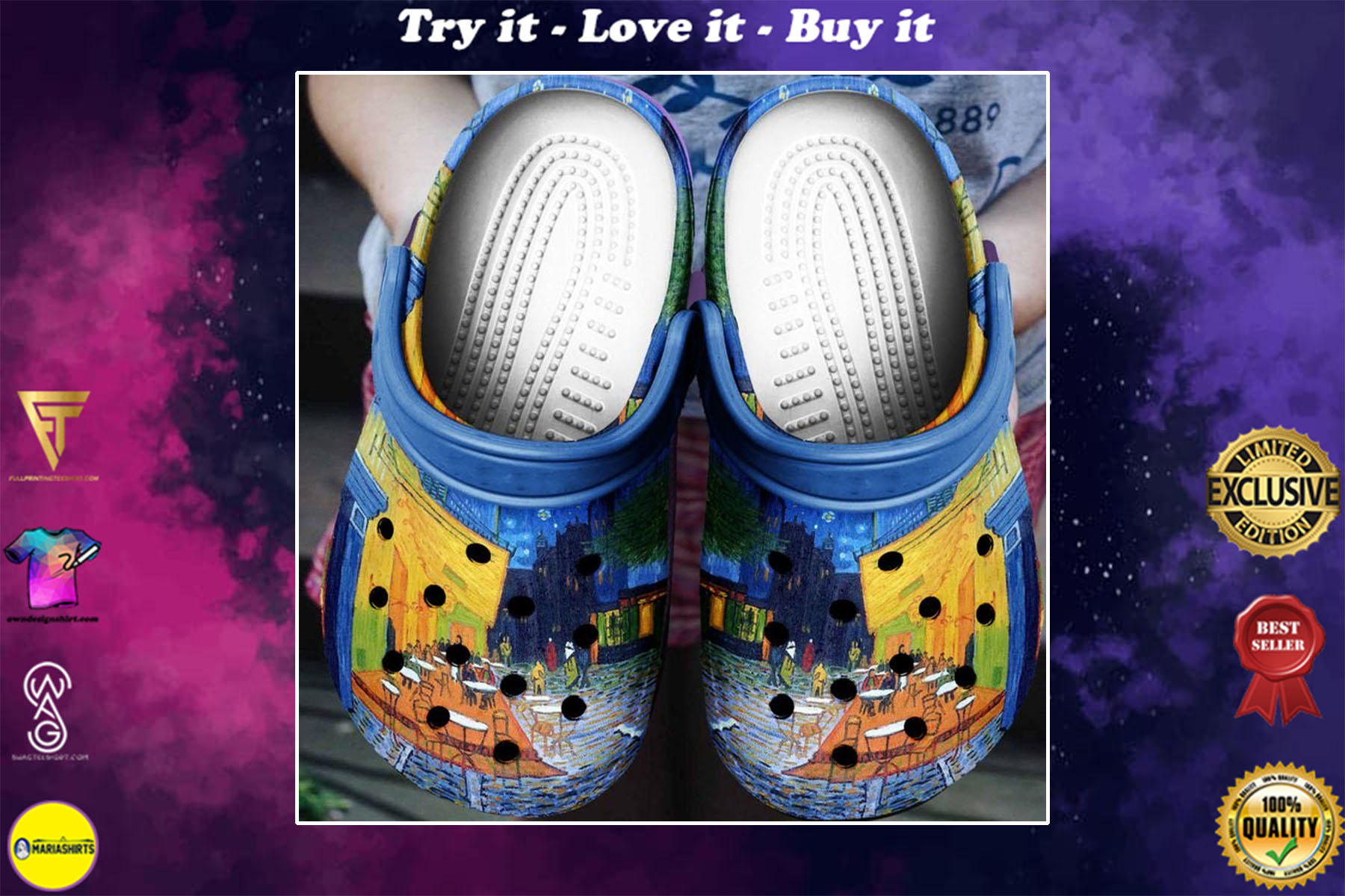 [special edition] cafe terrace at night van gogh crocs shoes - maria