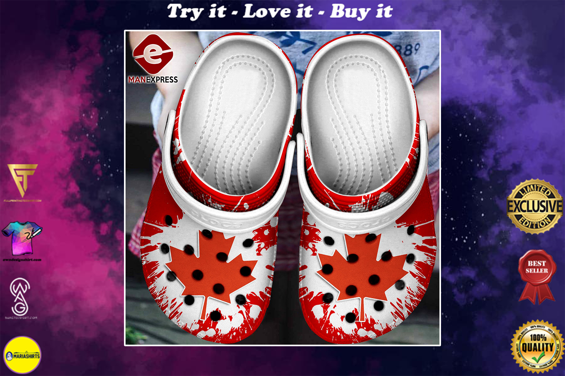 [special edition] canada flag crocs shoes - maria
