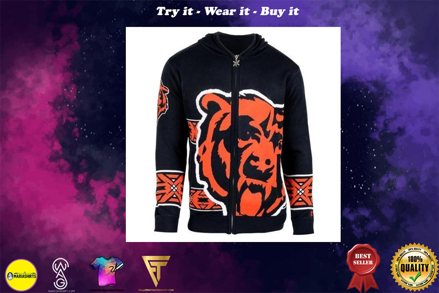 [special edition] chicago bears nfl full over print shirt - maria