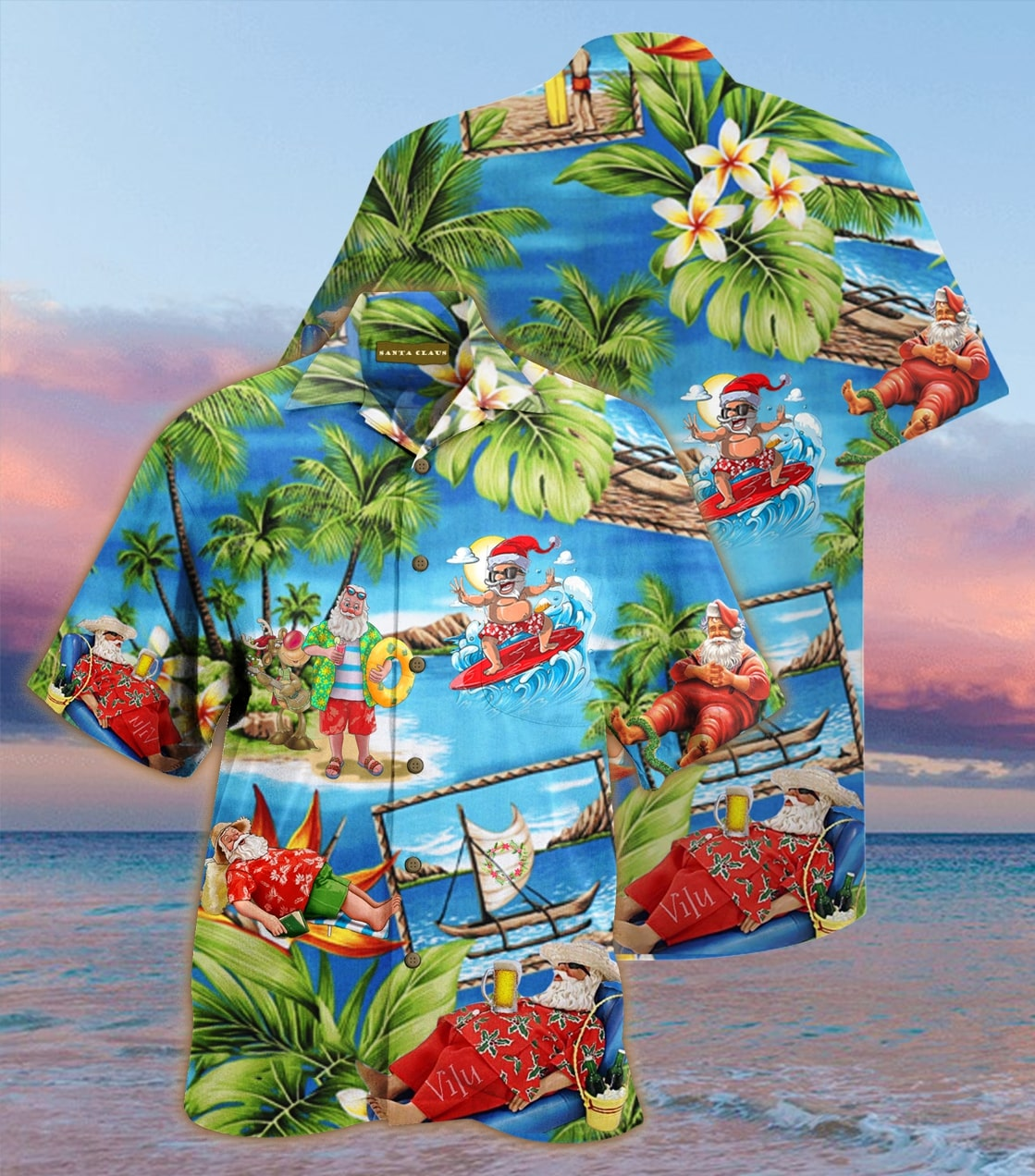 [special edition] christmas santa claus surfing hawaiian shirt - Maria
