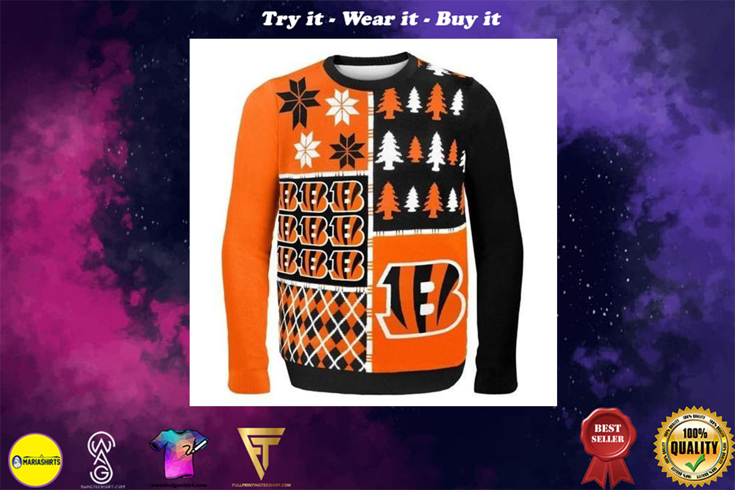[special edition] cincinnati bengals busy block ugly christmas sweater - maria