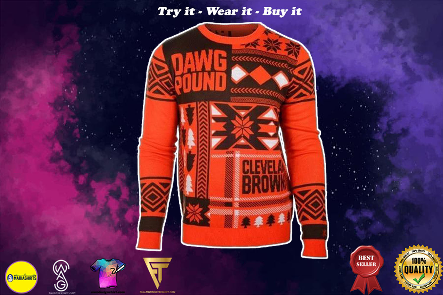 [special edition] cleveland browns patches ugly christmas sweater - maria