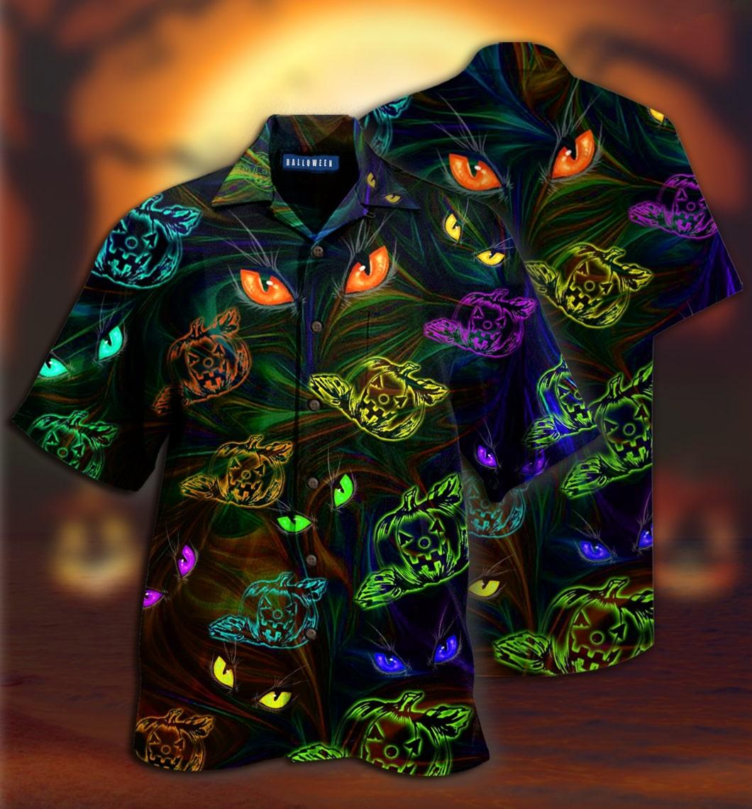 [special edition] colorful groovy pumpkins cat eyes hawaiian shirt - Maria