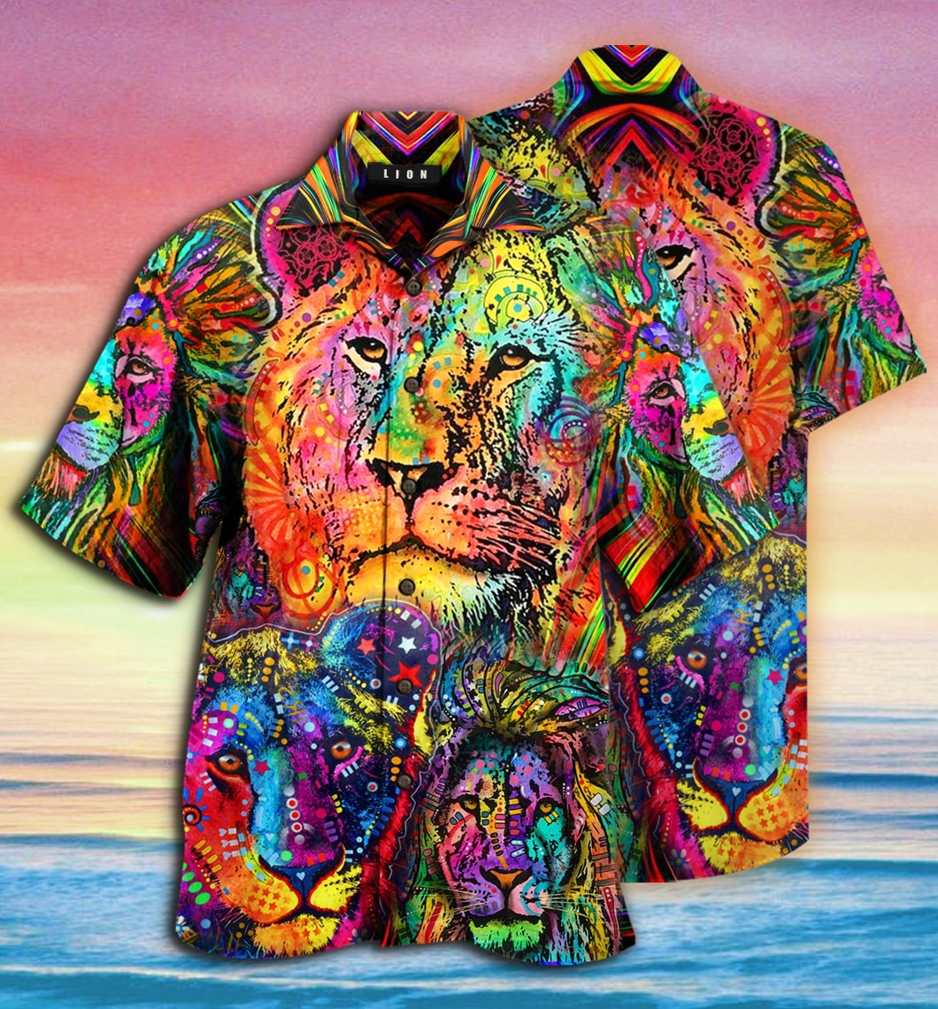 [special edition] colorful lion king and queen hawaiian shirt - Maria