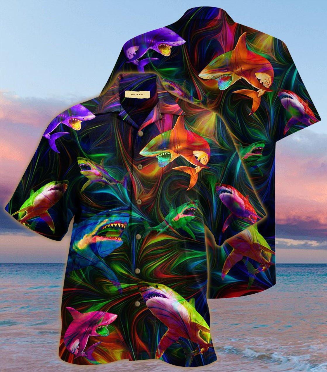 [special edition] colorful shark hawaiian shirt - Maria