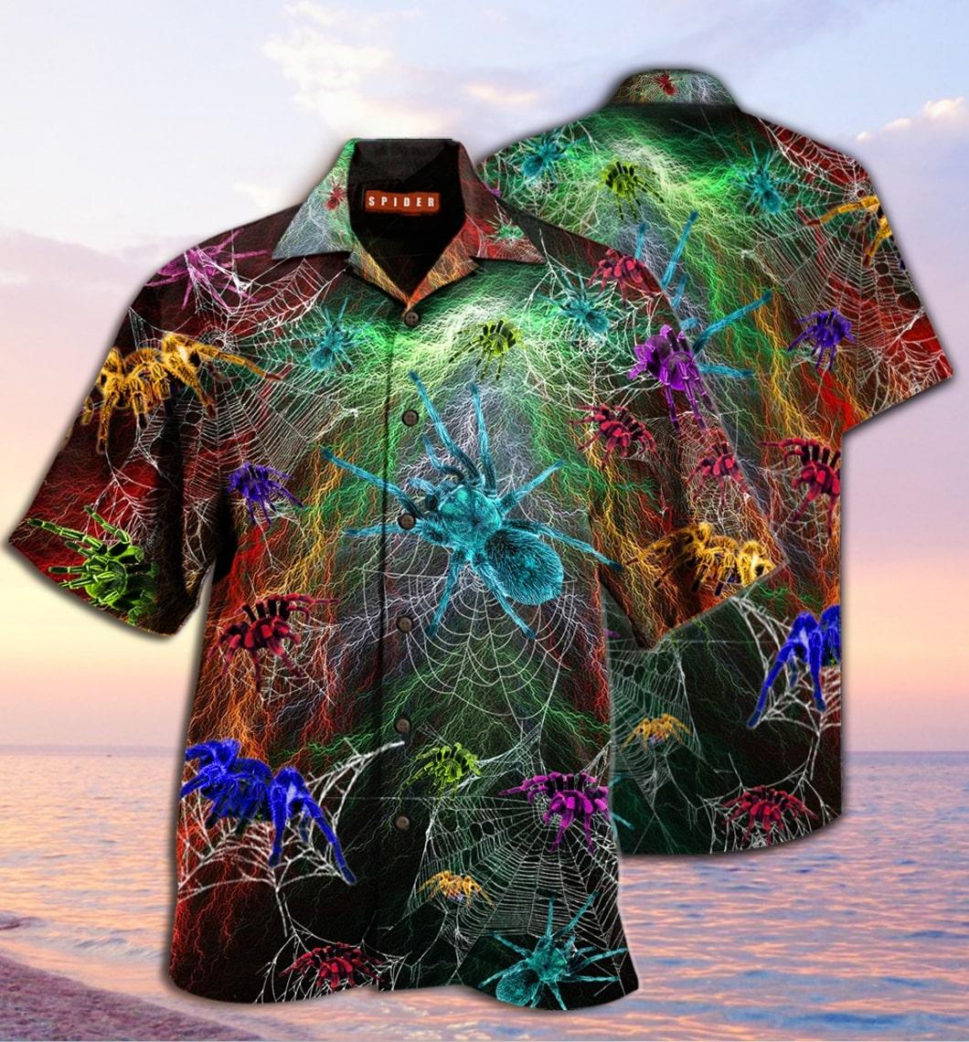 [special edition] colorful spiderweb hawaiian shirt - Maria
