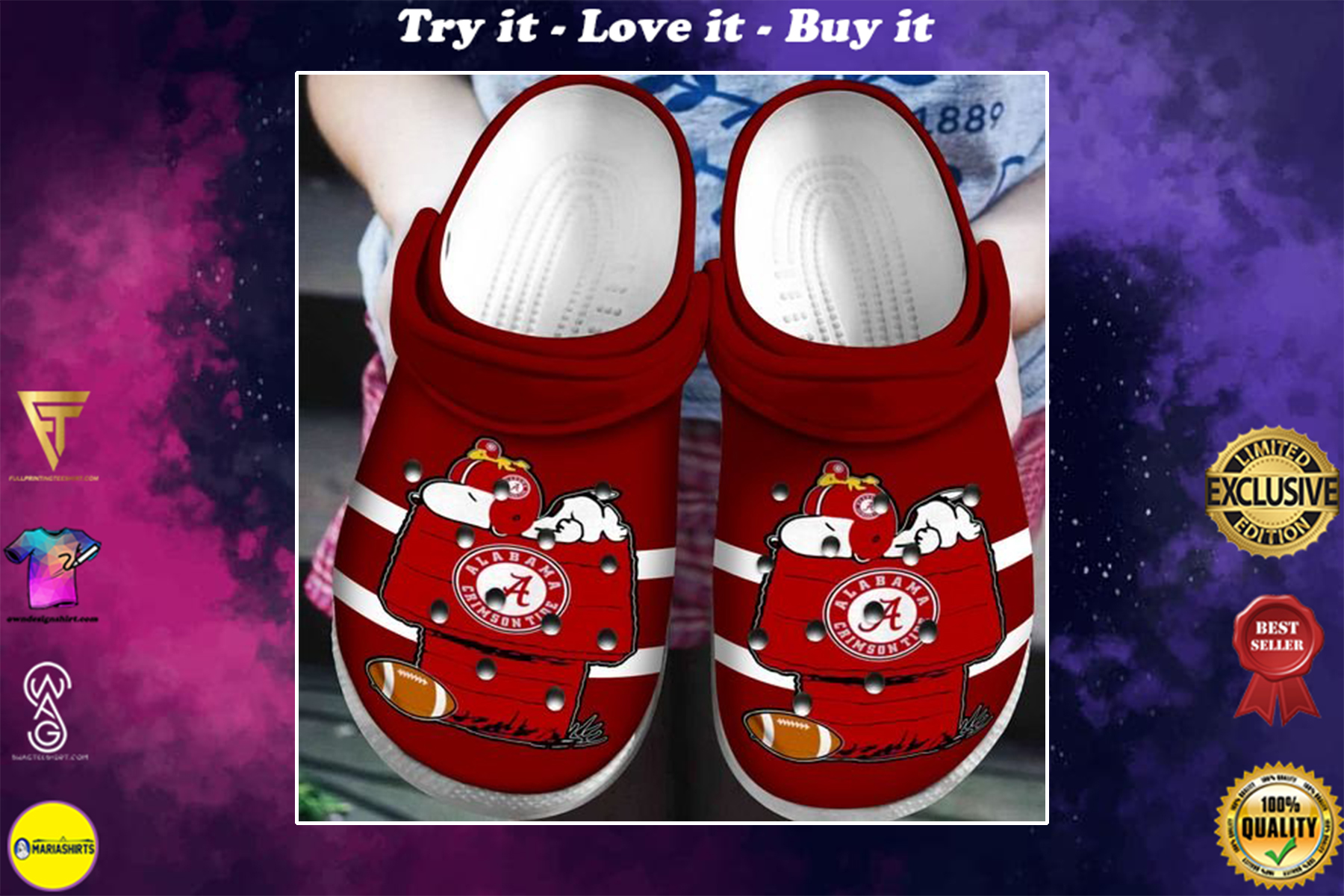 [special edition] crocs alabama crimson tide snoopy and charlie brown clog - maria