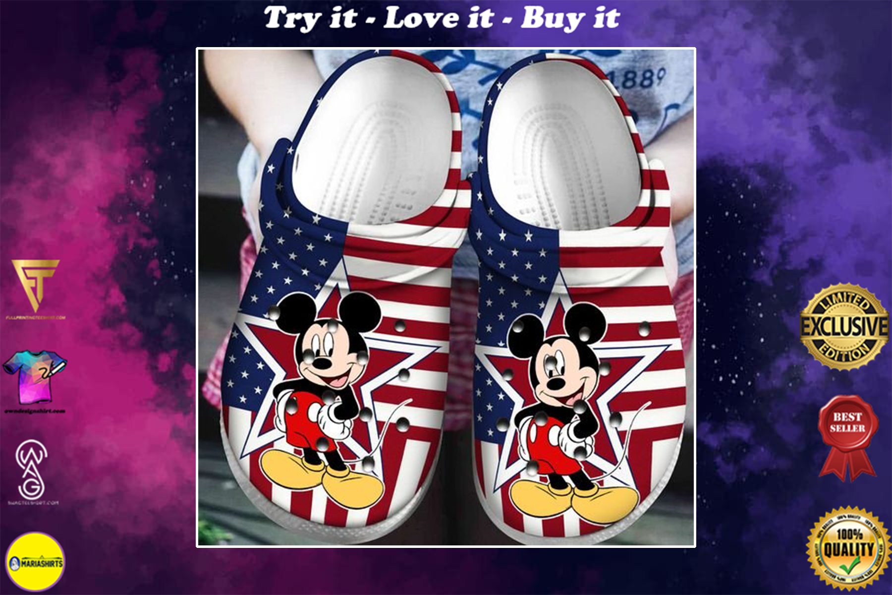 [special edition] crocs american flag mickey mouse clog - maria