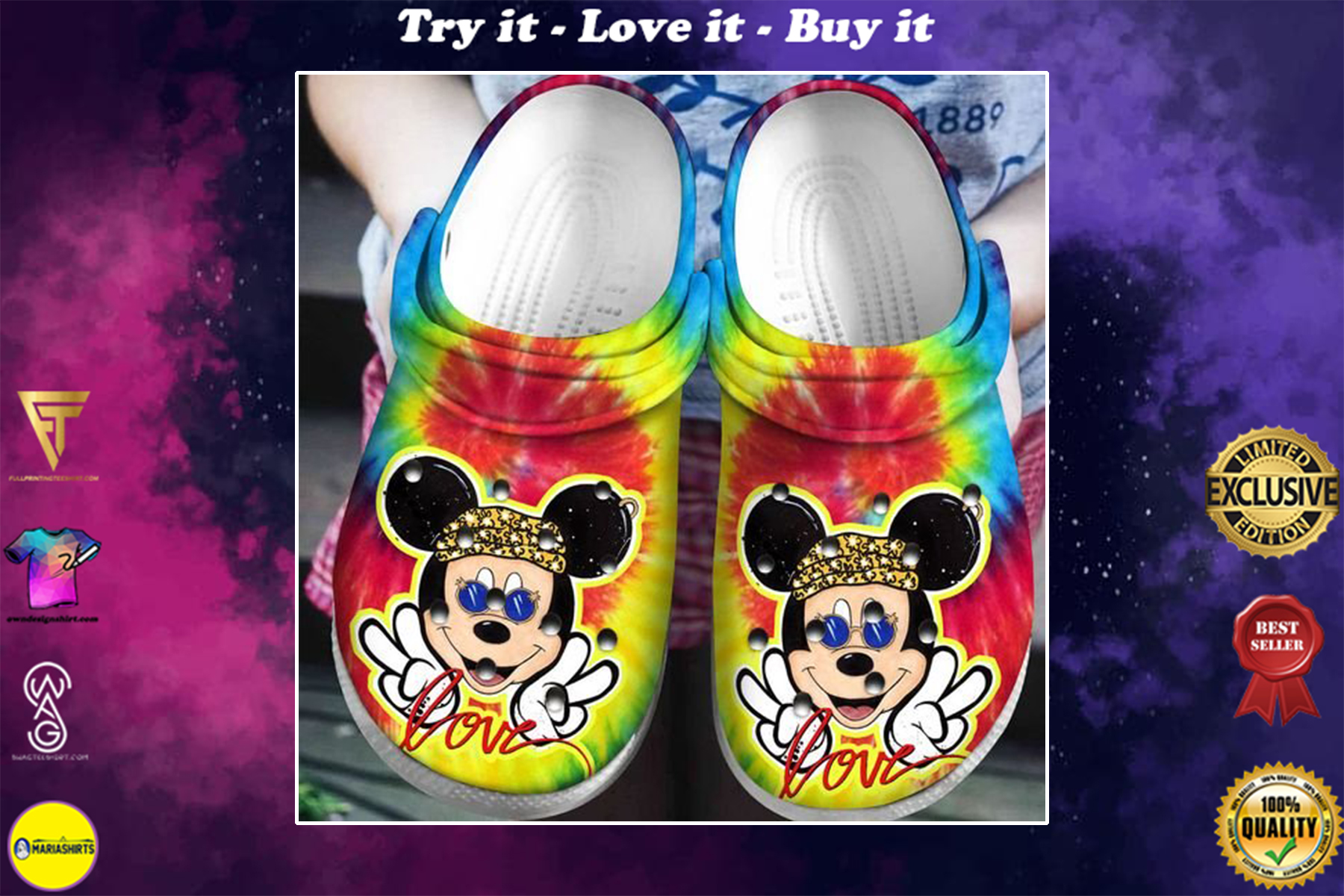 [special edition] crocs love mickey mouse tie dye clog - maria