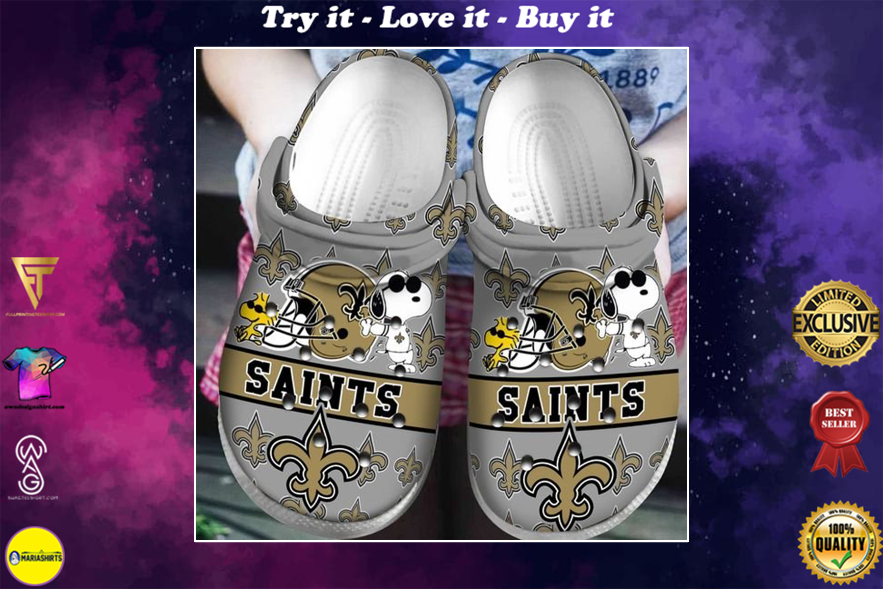 [special edition] crocs national football league new orleans saints and snoopy clog - maria