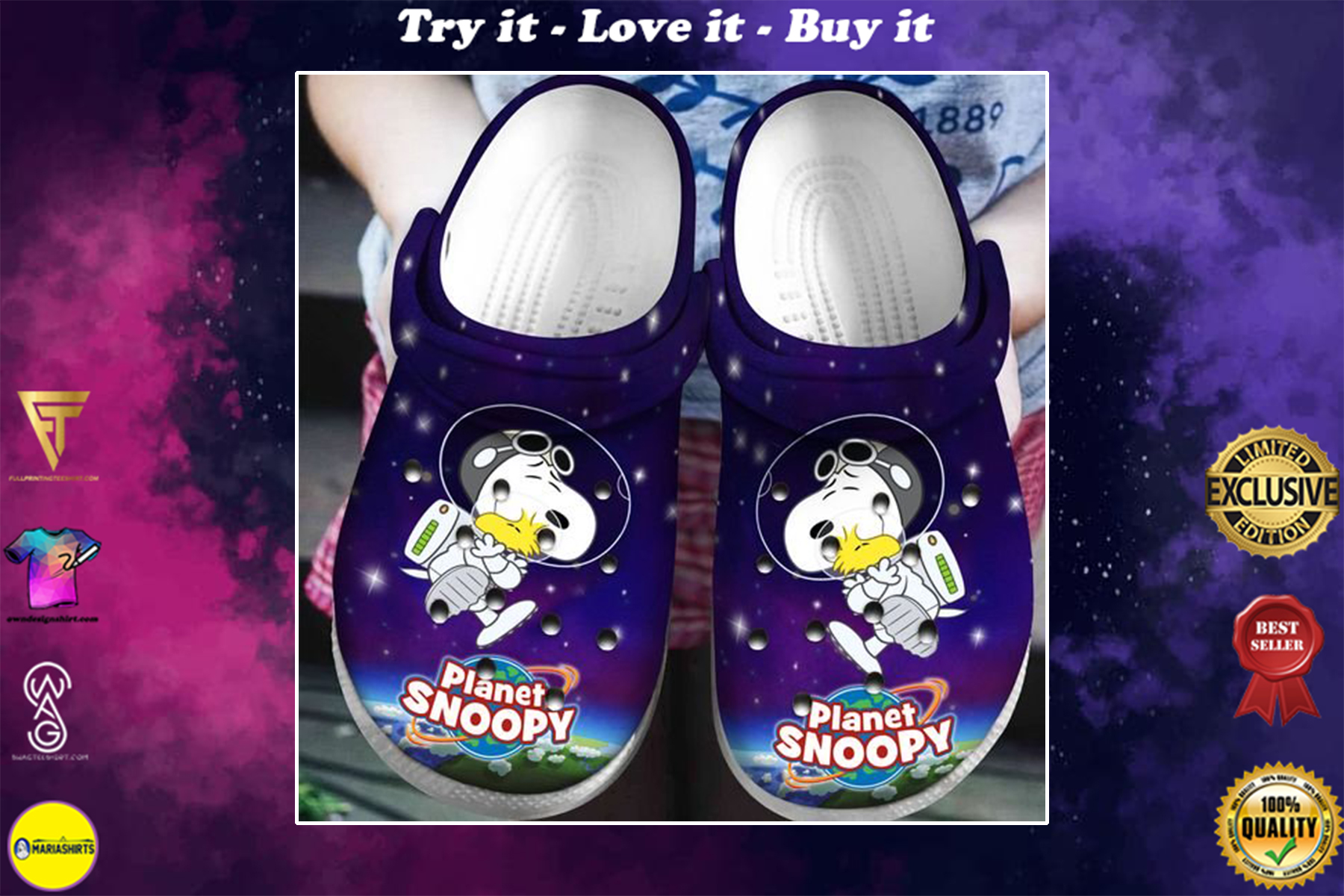 [special edition] crocs planet snoopy and woodstock in space clog - maria