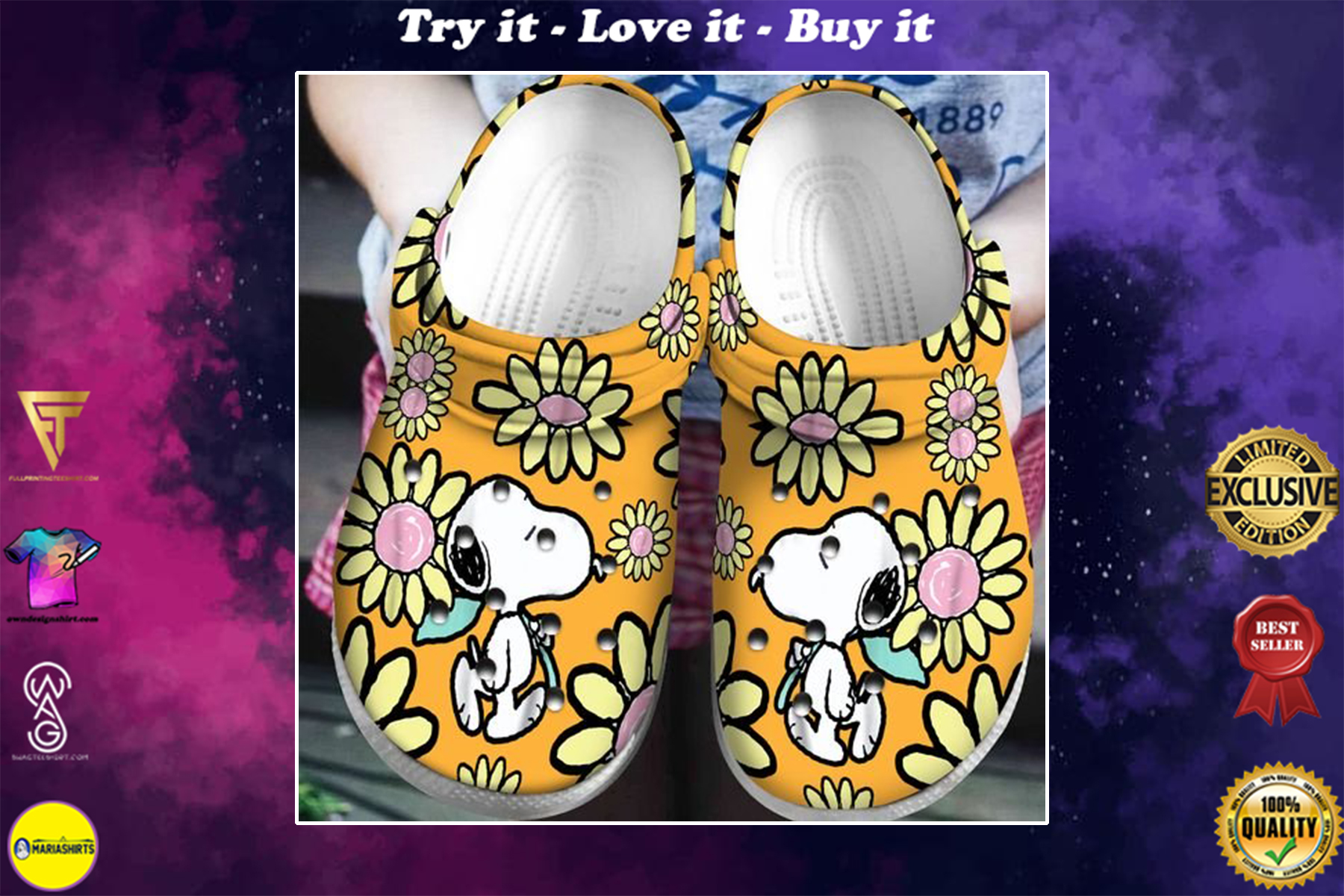 [special edition] crocs snoopy and charlie brown daisy clog - maria