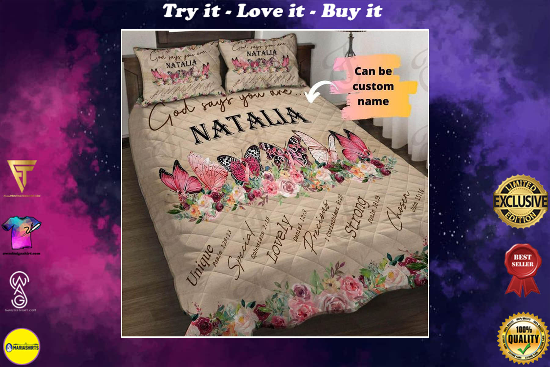 [special edition] custom name God says you are butterfly bedding set - maria