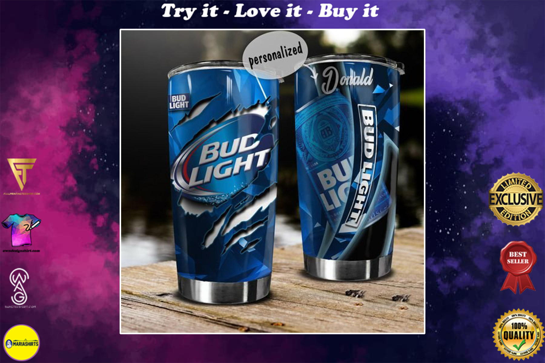 [special edition] custom name bud light beer tumbler - maria