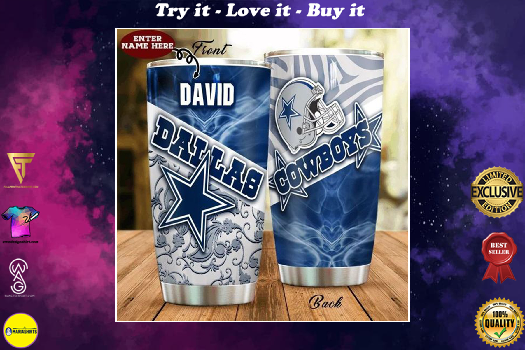 [special edition] custom name dallas cowboys american football team tumbler - maria
