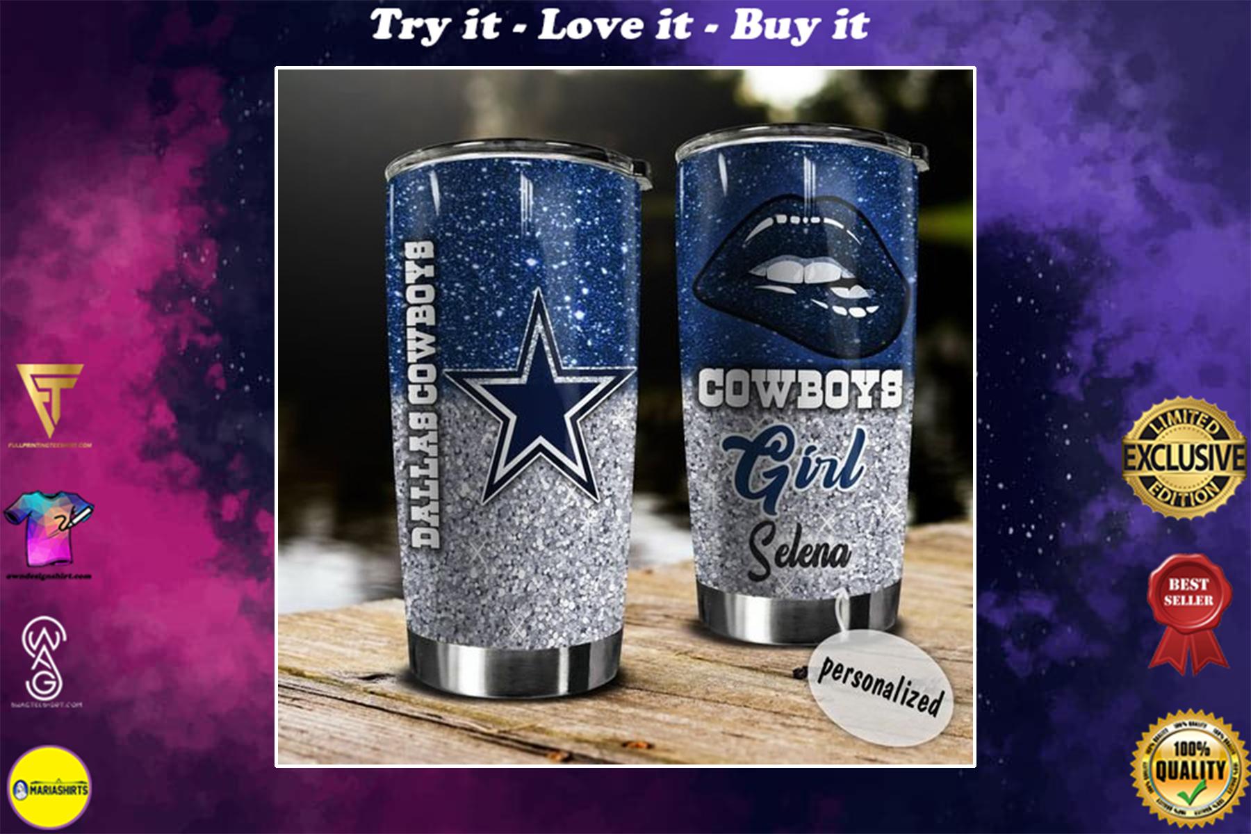 [special edition] custom name glitter lips dallas cowboys tumbler - maria
