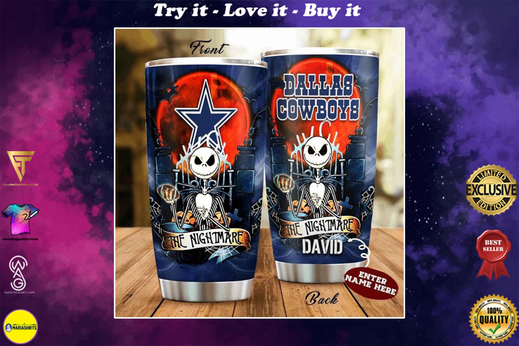 [special edition] custom name jack skellington and dallas cowboys tumbler - maria
