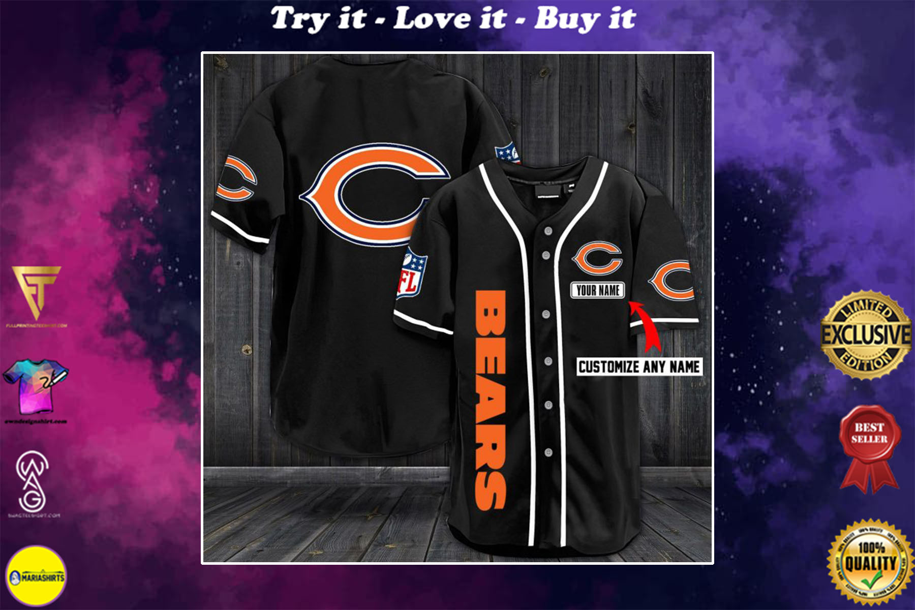 [special edition] custom name jersey chicago bears shirt - maria