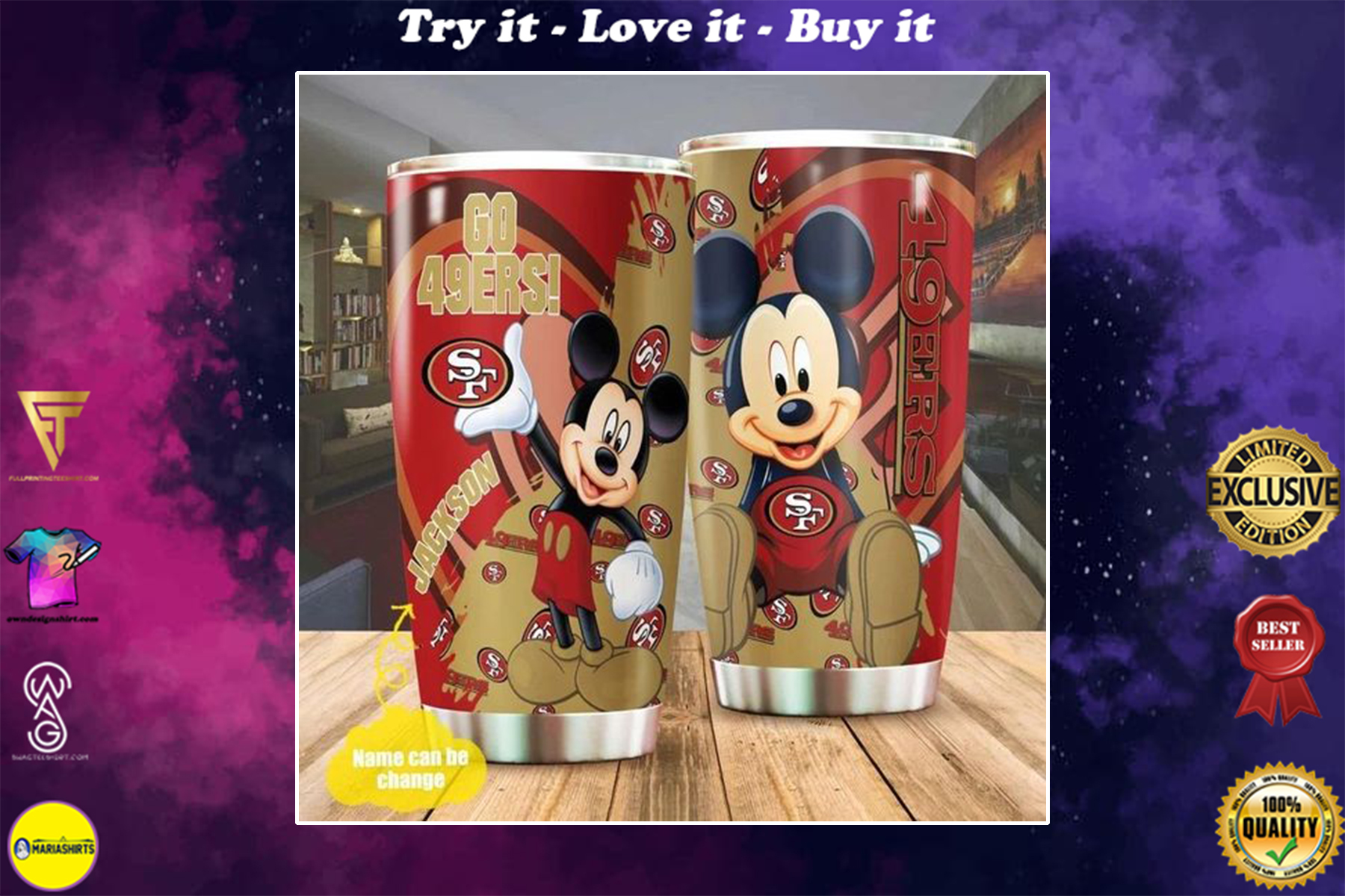 [special edition] custom name mickey mouse and san francisco 49ers tumbler - maria