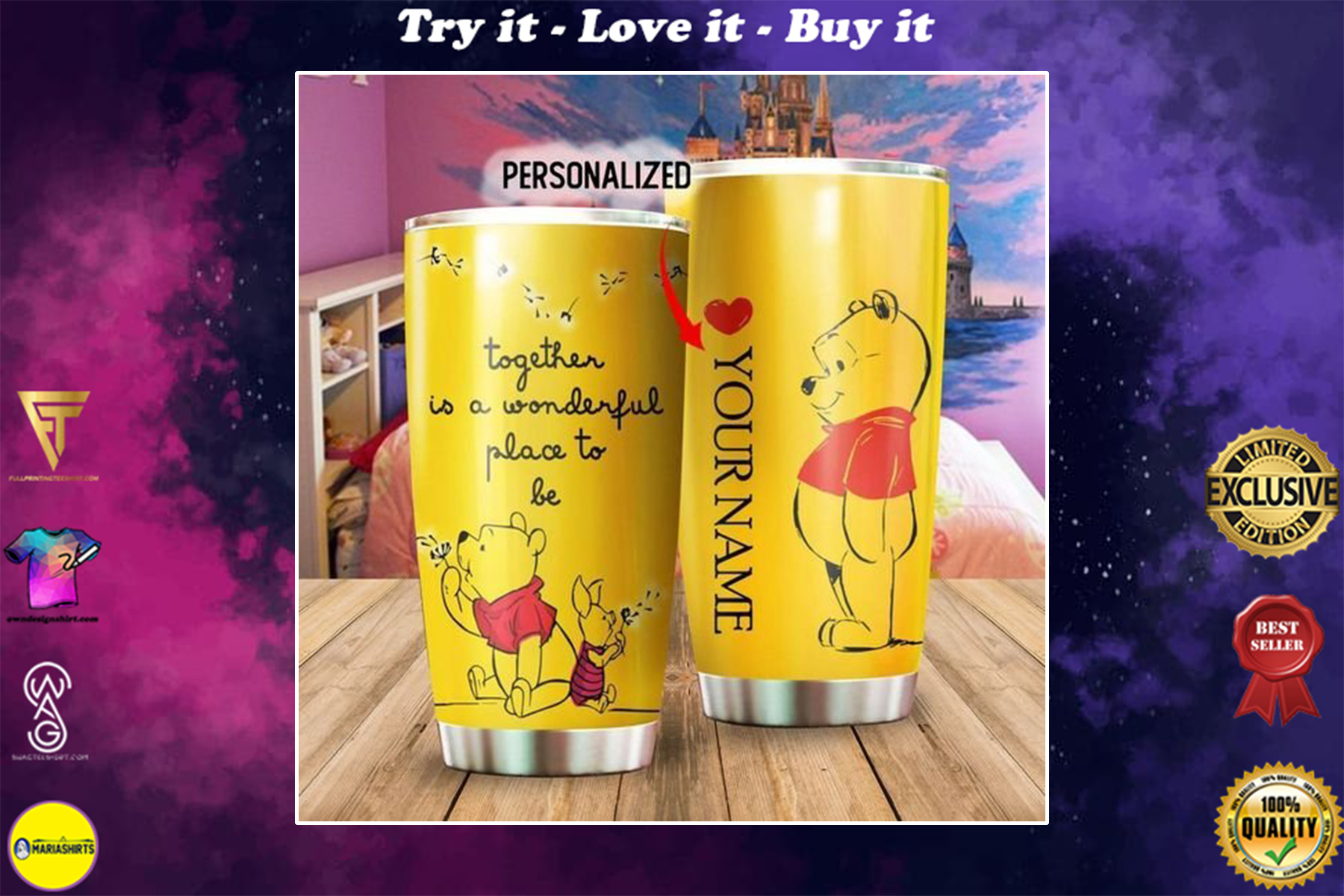[special edition] custom name winnie the pooh and piglet tumbler - maria