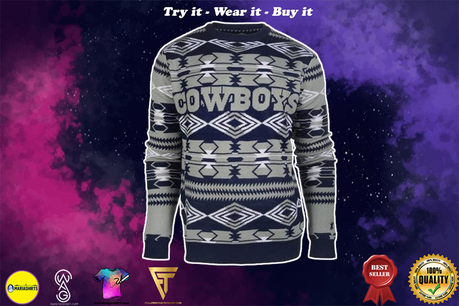 [special edition] dallas cowboys aztec print ugly christmas sweater - maria