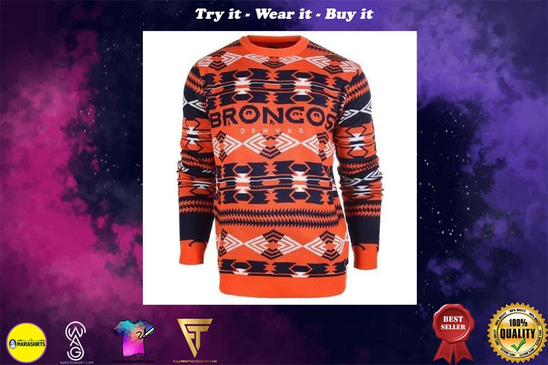 [special edition] denver broncos aztec print ugly christmas sweater - maria