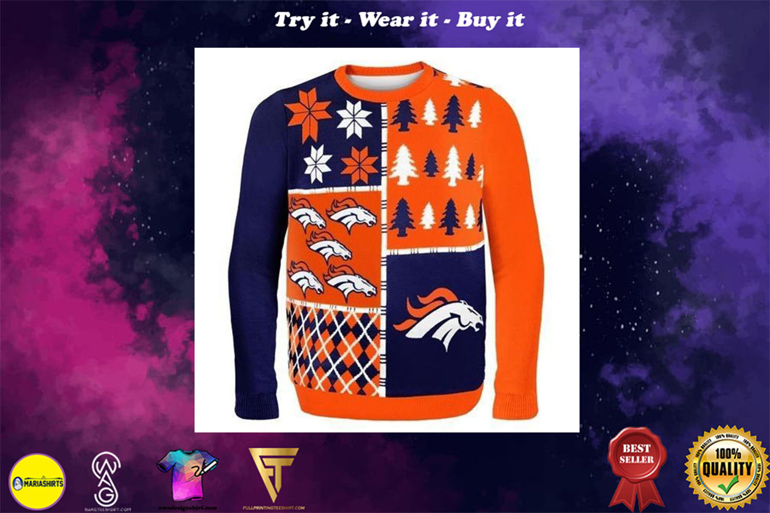 [special edition] denver broncos busy block ugly christmas sweater - maria