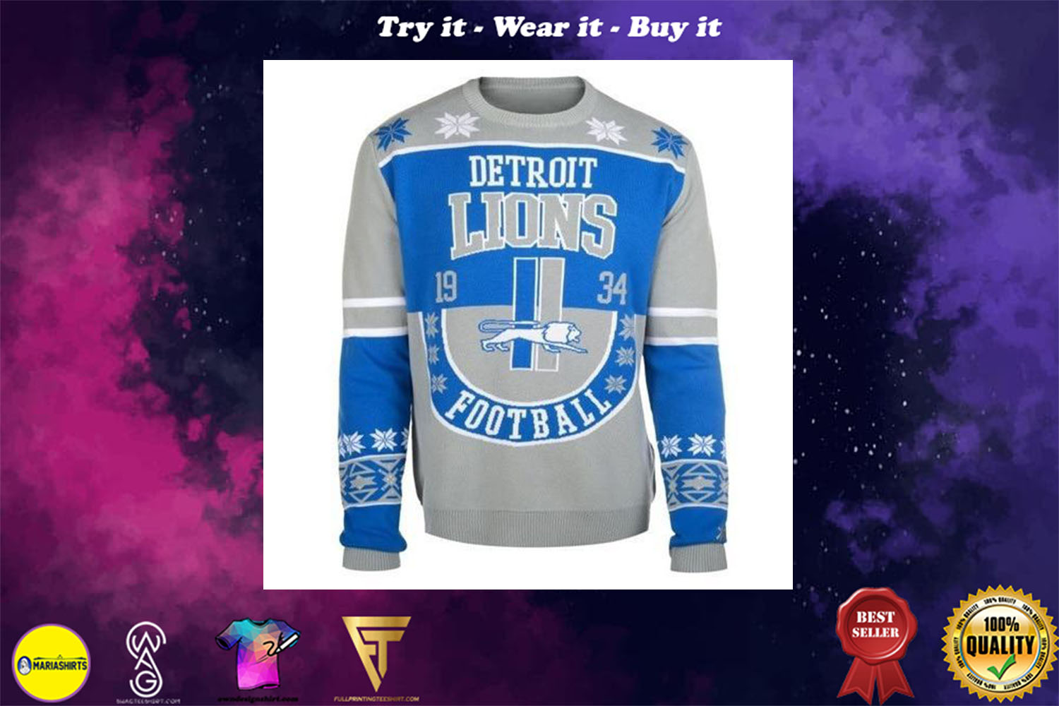 [special edition] detroit lions football ugly christmas sweater - maria