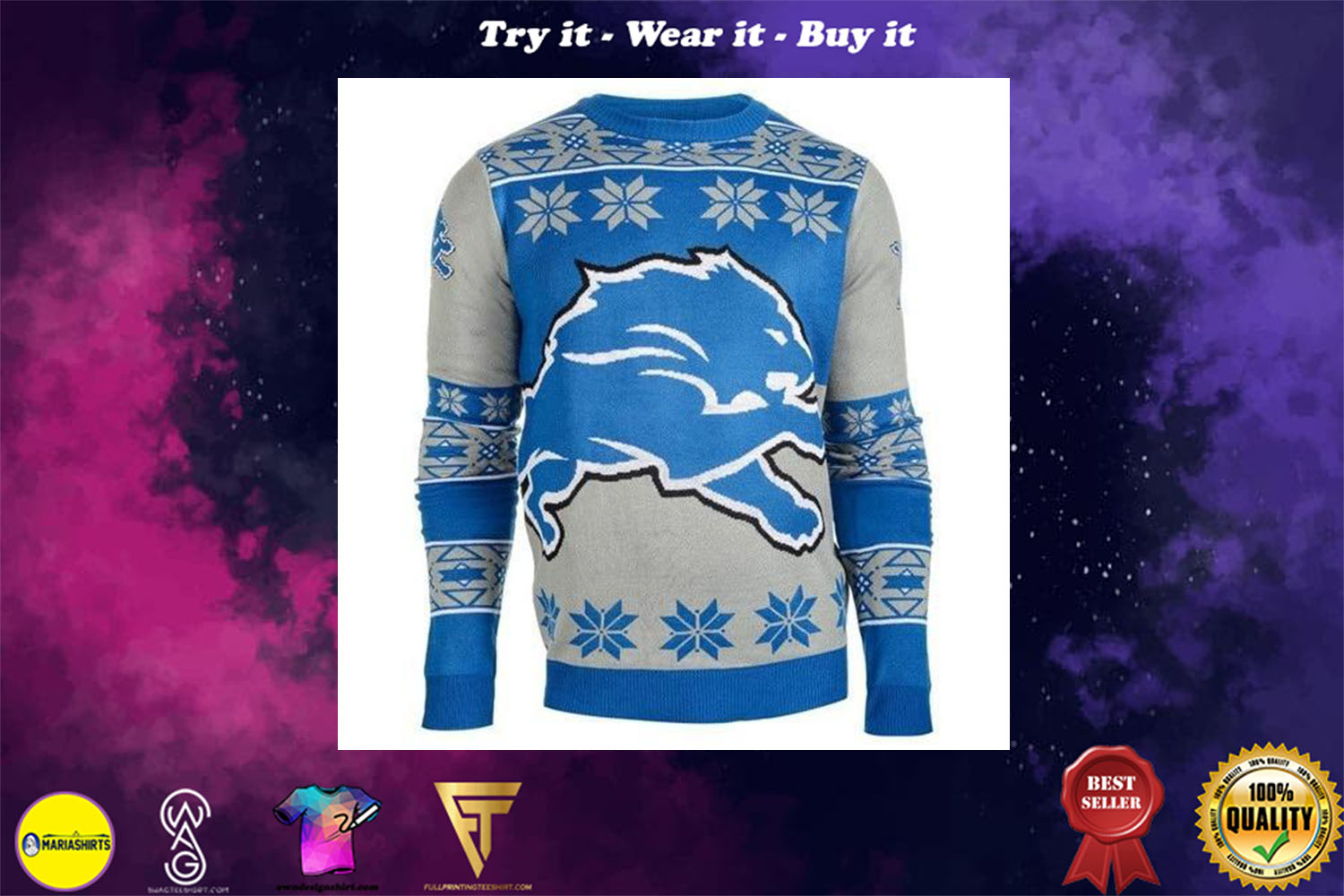[special edition] detroit lions national football league ugly christmas sweater - maria