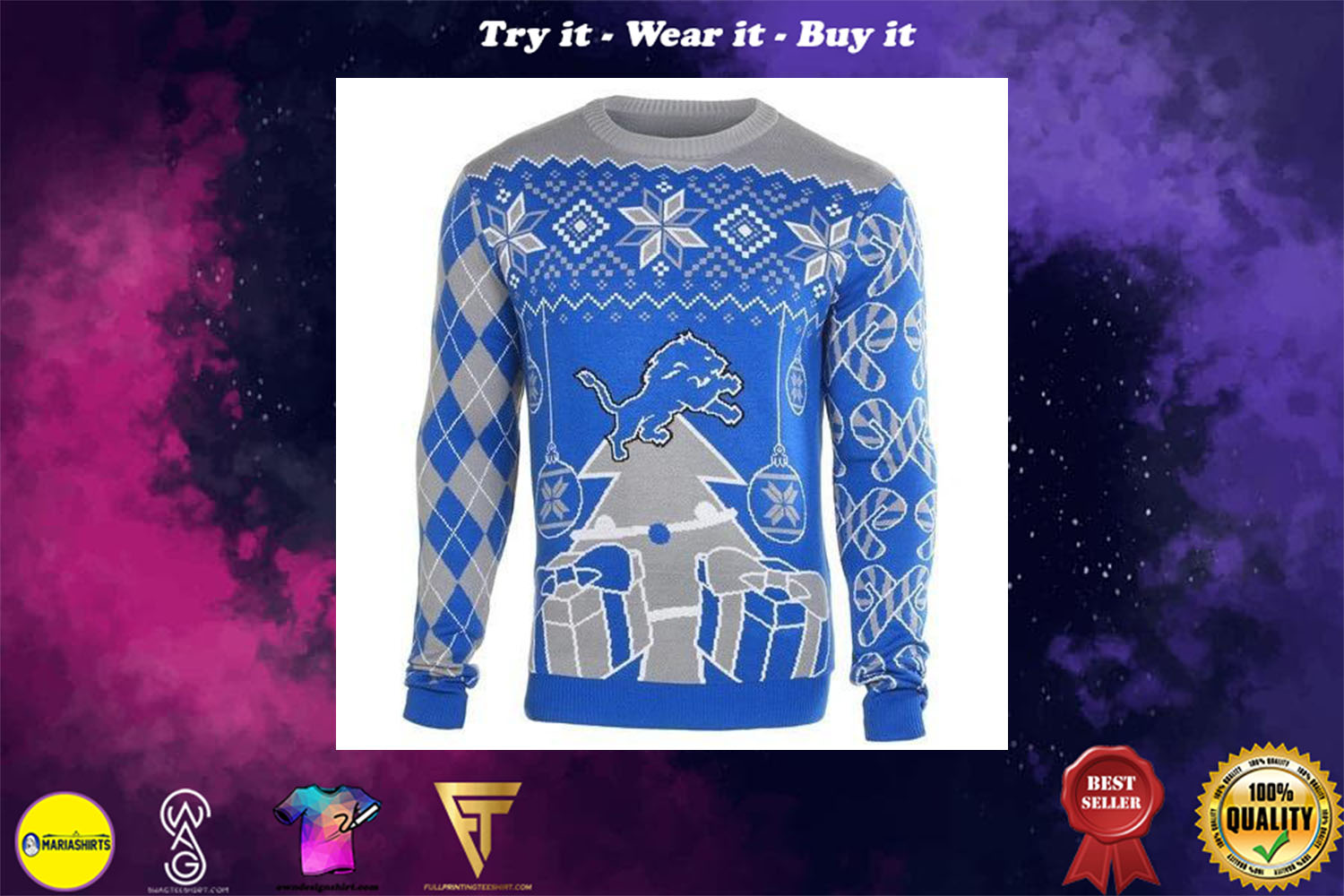 [special edition] detroit lions ugly christmas sweater - maria (Copy)