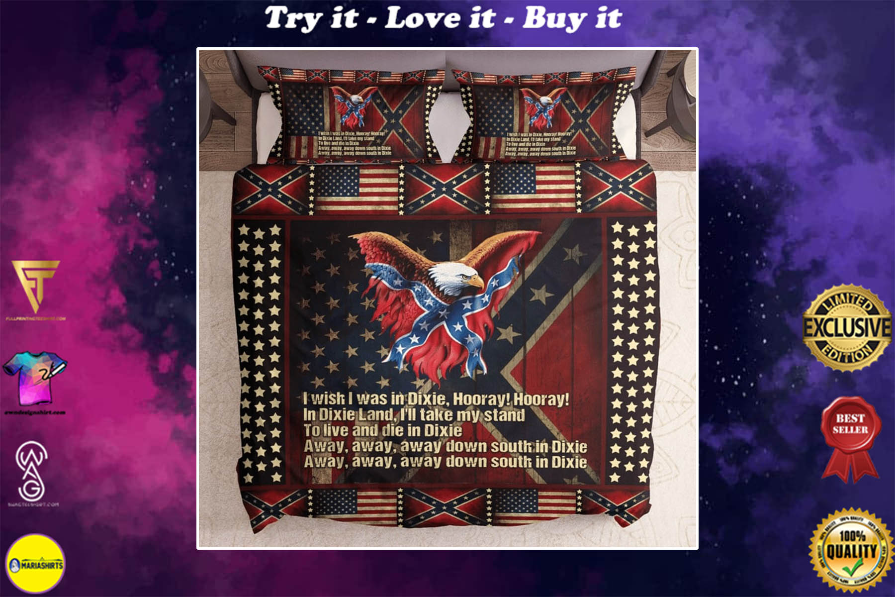 [special edition] eagle with american and confederate flag bedding set - maria