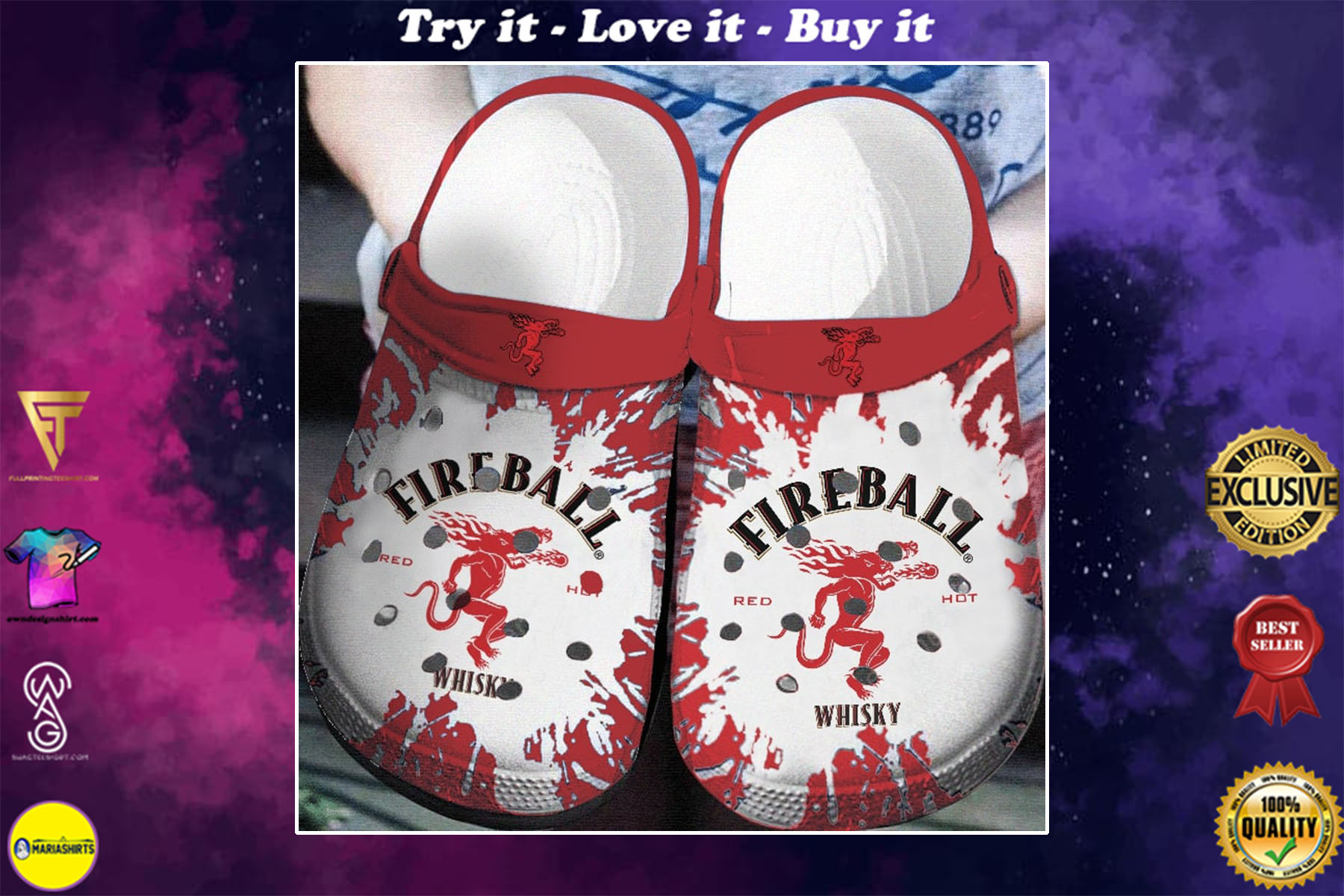 [special edition] fireball cinnamon whisky crocs shoes - maria