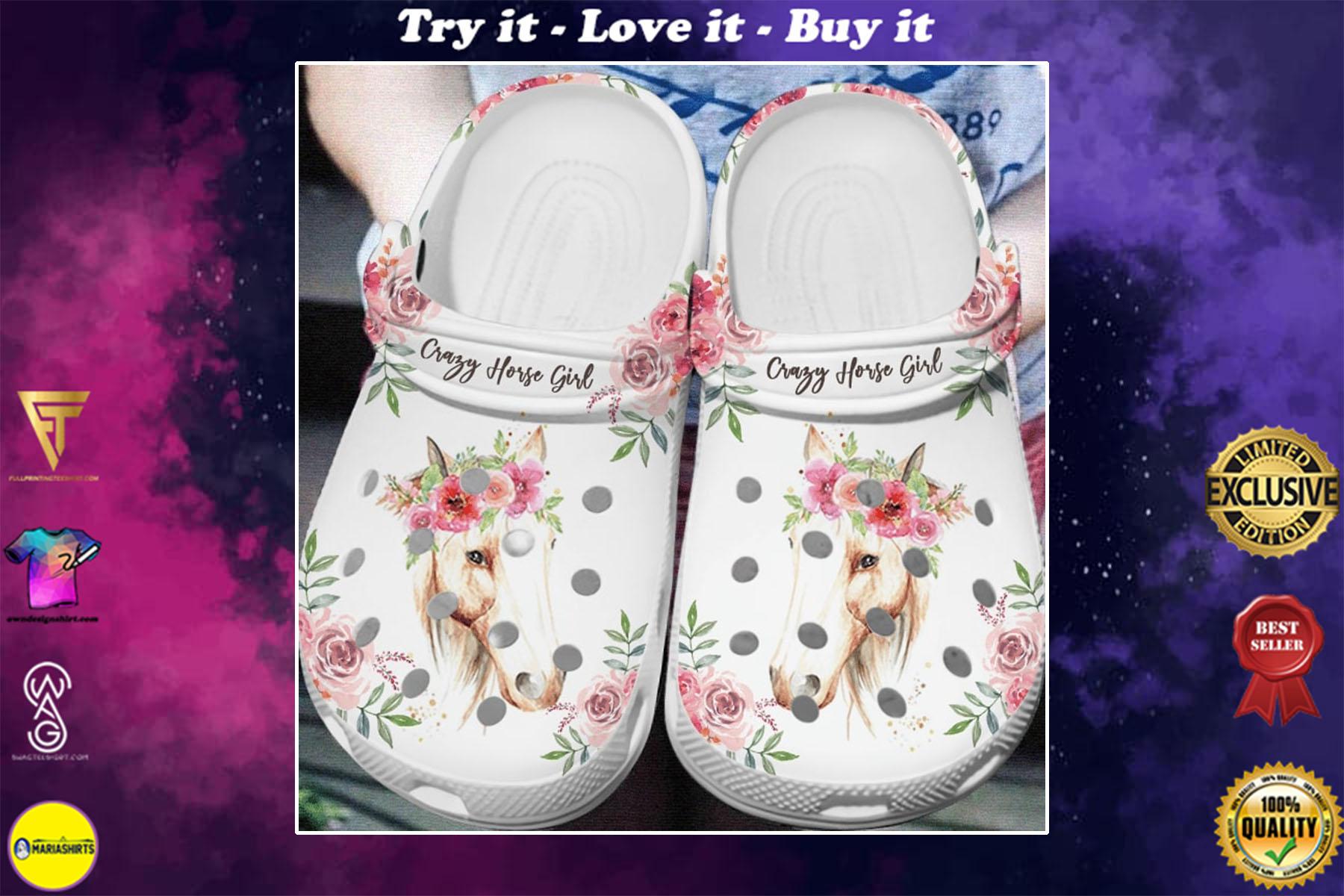 [special edition] floral crazy horse girl crocs shoes - maria