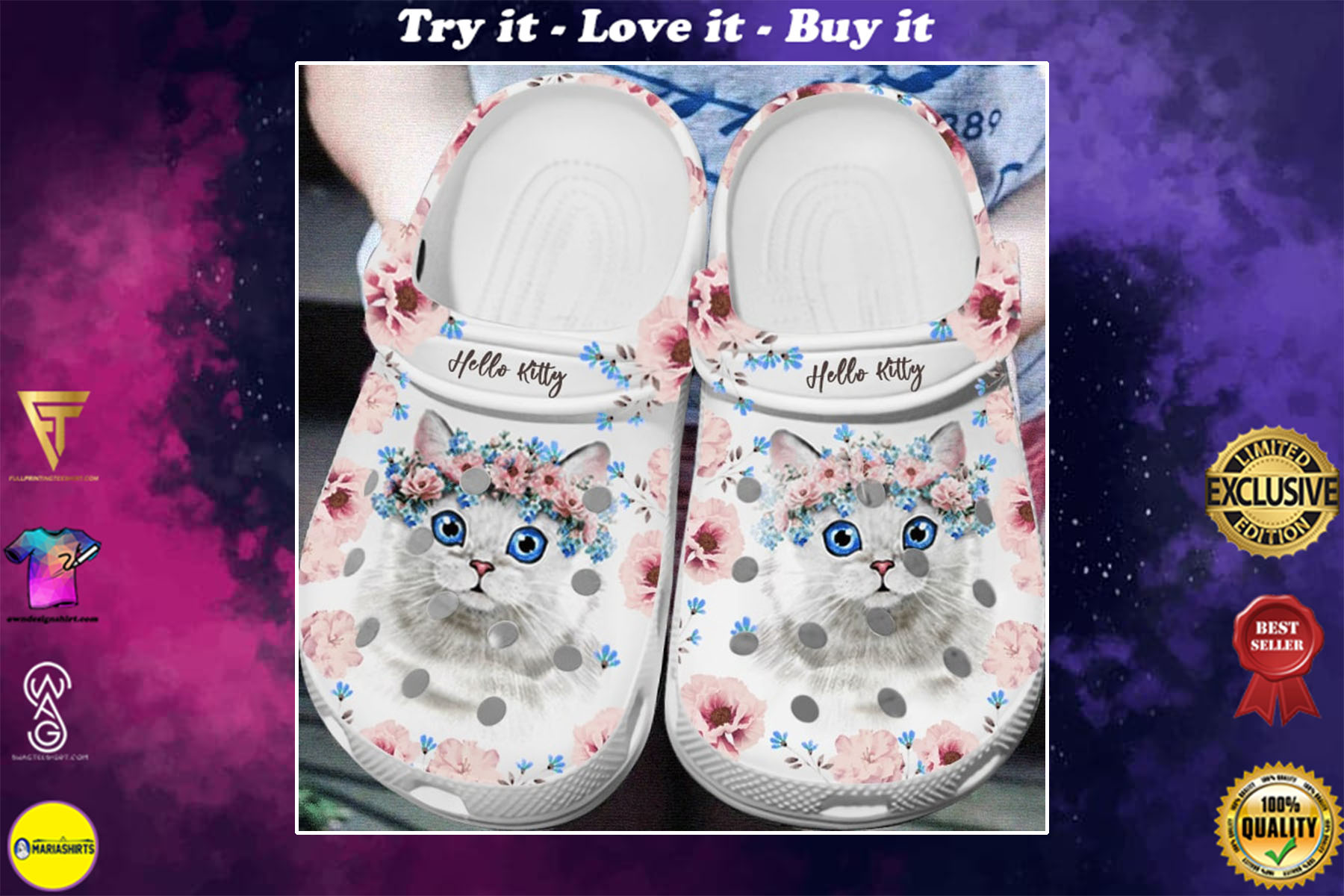 [special edition] floral hello kitty crocs shoes - maria